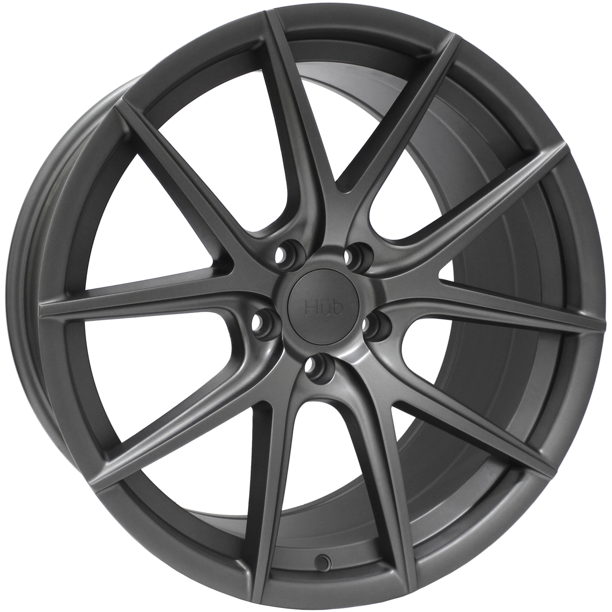 "NEW 18"" HUB V5 ALLOY WHEELS IN MATT GREY ET45/42"