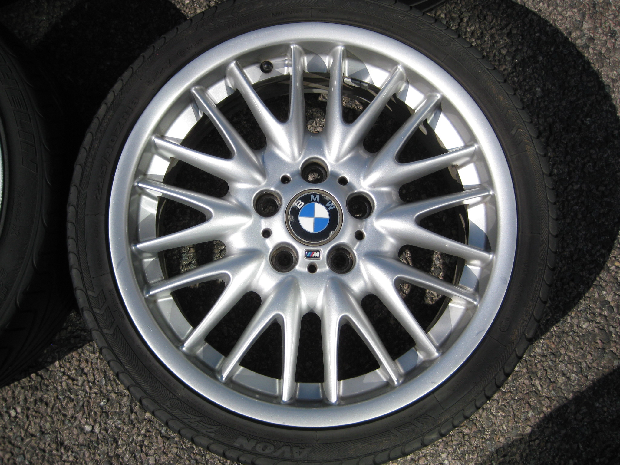 "USED 18"" GENUINE STYLE 72 E46 MV SPORT ALLOY WHEELS,WIDE REAR,GOOD CONDITION INC TYRES"