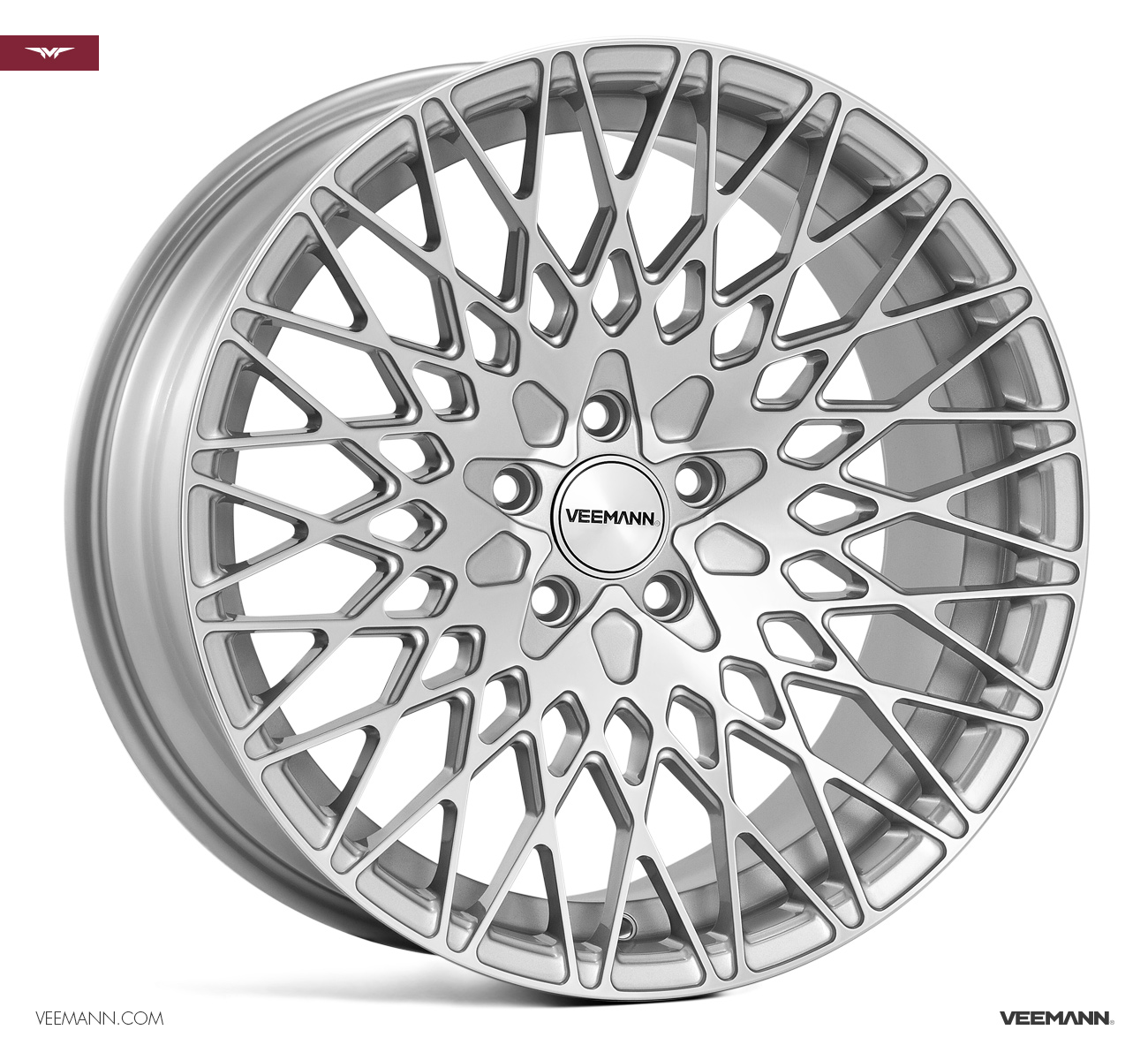 "NEW 18"" VEEMANN VC540 ALLOY WHEELS IN SILVER POL WITH WIDER 9"" REARS"