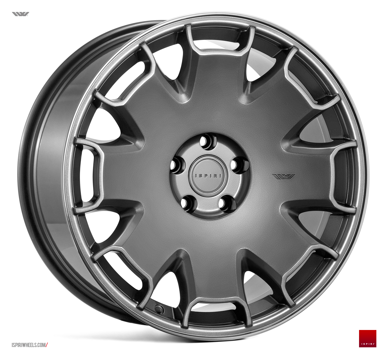 "NEW 19"" ISPIRI CSR2 ALLOY WHEELS IN CARBON GRAPHITE WITH POLISHED LIP et32 or et42/42"