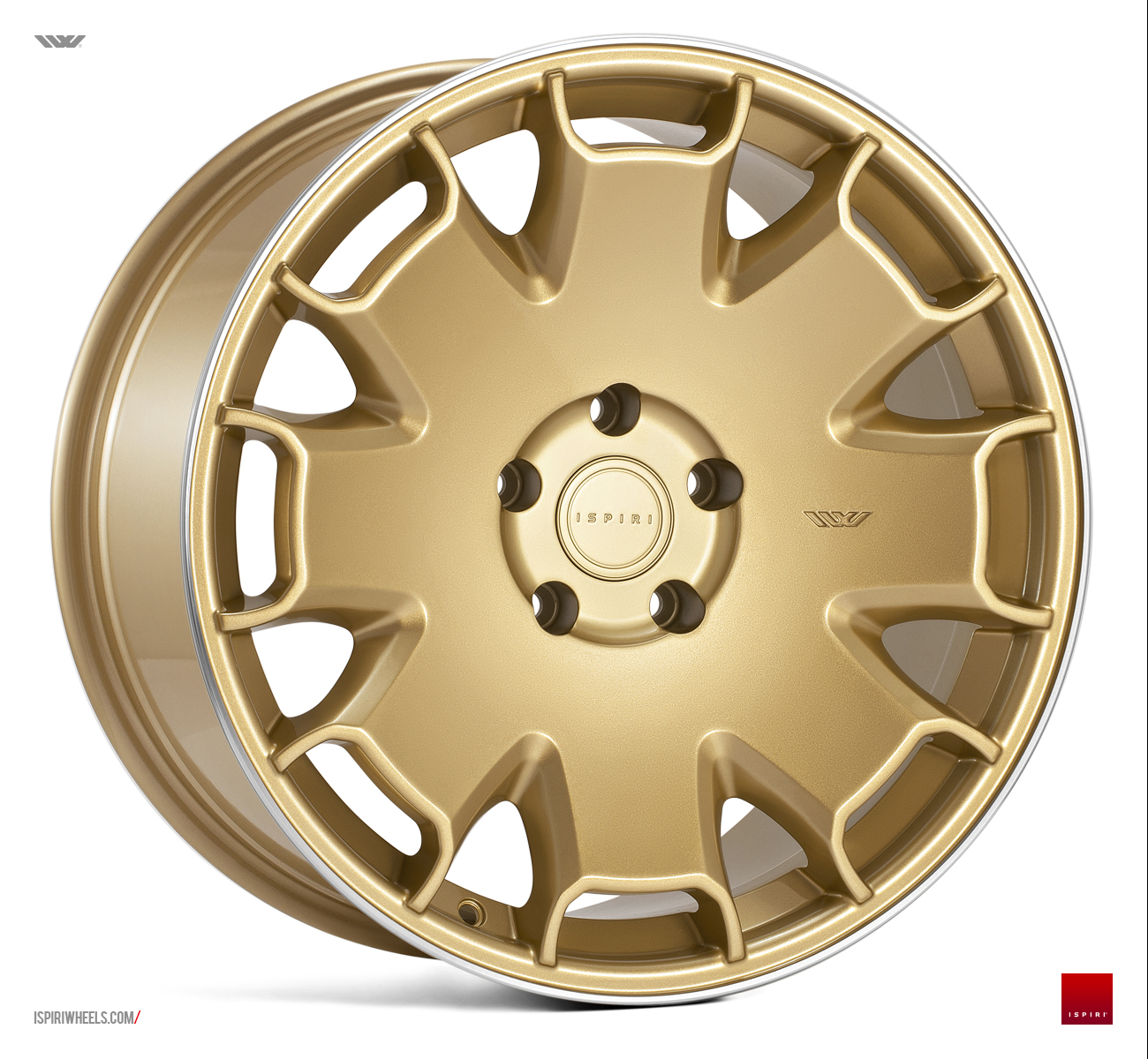 "NEW 19"" ISPIRI CSR2 ALLOY WHEELS IN VINTAGE GOLD WITH POLISHED LIP et32 or et42/42"
