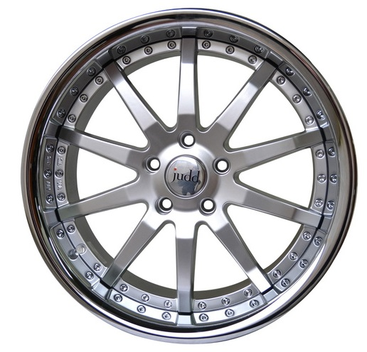 "NEW 19"" JUDD T110 ALLOY WHEELS IN HYPER SILVER WITH STAINLESS STEEL LIP, WIDER 9.5"" REARS"