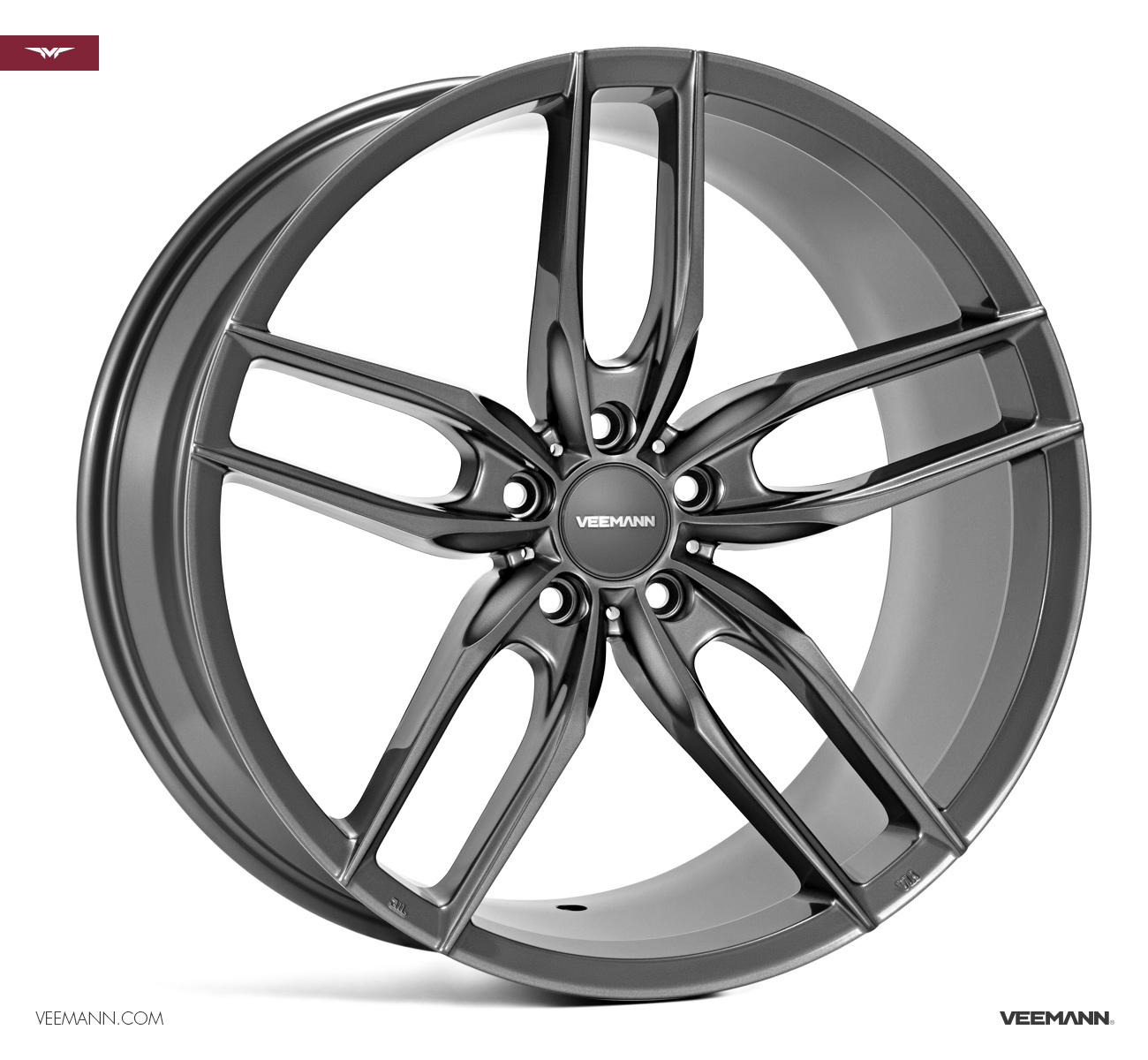 "NEW 19"" VEEMANN V-FS28 ALLOY WHEELS IN GLOSS GRAPHITE WITH DEEPER CONCAVE 9.5"" REARS"