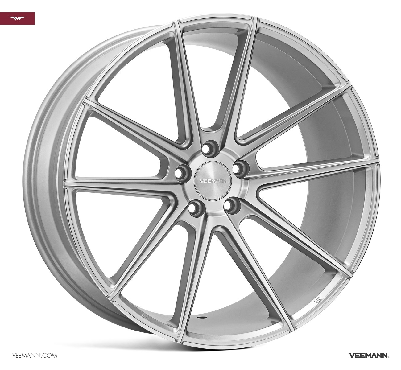 "NEW 21"" VEEMANN V-FS4 ALLOY WHEELS IN SILVER POL WITH DEEPER CONCAVE 10.5"" REARS et32/et42"