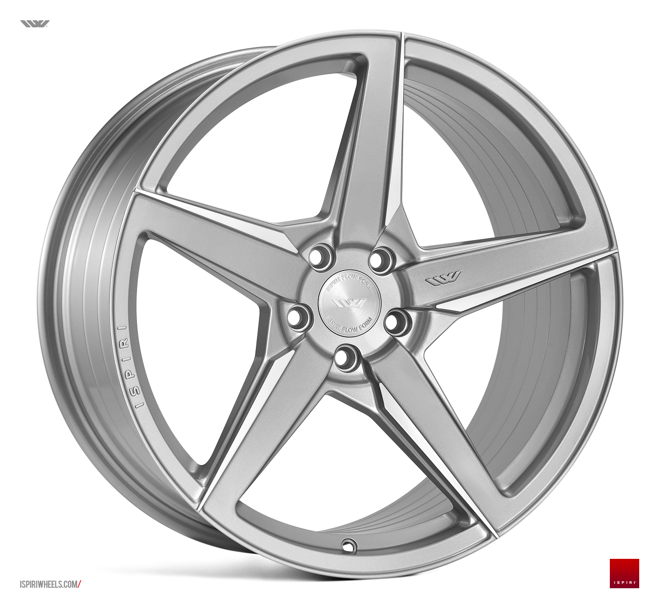 "NEW 20"" ISPIRI FFR5 5 SPOKE ALLOY WHEELS IN PURE SILVER BRUSHED, WIDER 10"" REARS et32/45 5X112"