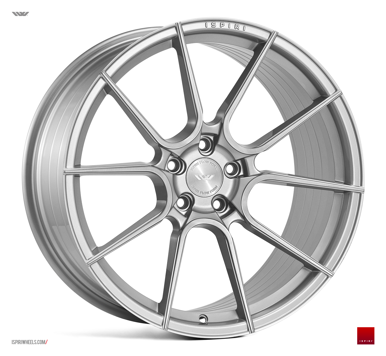 "NEW 20"" ISPIRI FFR6 TWIN 5 SPOKE ALLOY WHEELS IN PURE SILVER BRUSHED, WIDER 10"" REARS"