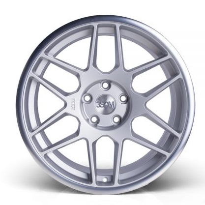 "NEW 18"" 3SDM 0.09 ALLOY WHEELS IN SATIN SILVER WITH POLISHED LIP WITH DEEPER CONCAVE 9.5"" REAR et42/40"