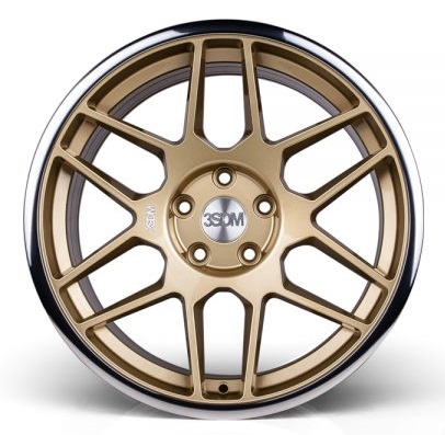"NEW 18"" 3SDM 0.09 ALLOY WHEELS IN GLOSS GOLD WITH POLISHED LIP WITH DEEPER CONCAVE 9.5"" REAR et42/40"