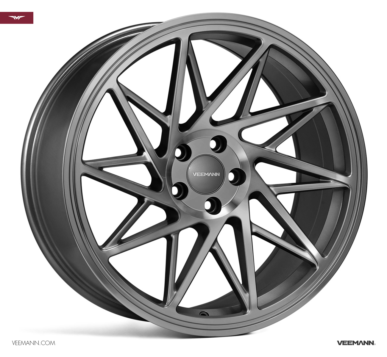 "NEW 19"" VEEMANN V-FS35 ALLOY WHEELS IN GLOSS GRAPHITE WITH WIDER 9.5"" REARS ET42/42"