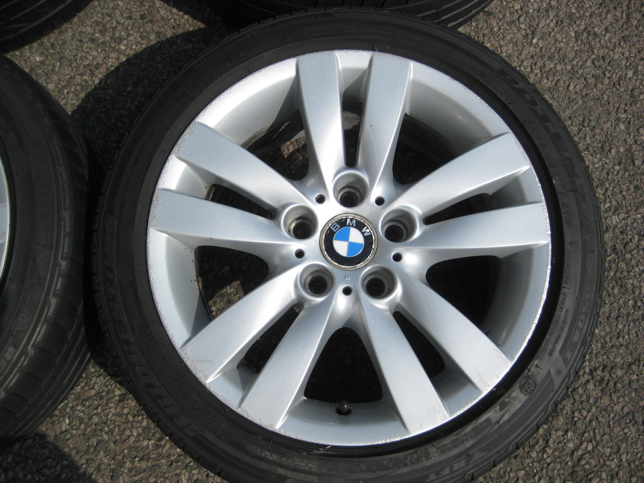 "USED 17"" GENUINE BMW STYLE 161 E9X DOUBLE SPOKE ALLOY WHEELS, WIDER REAR, CLEAN INC RUNFLAT TYRES"