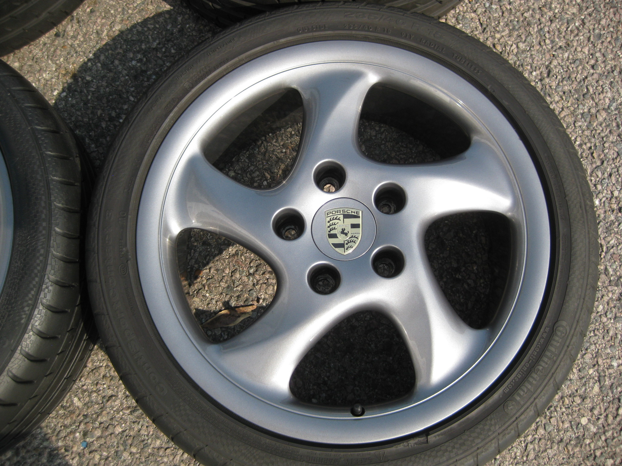 "USED 18"" GENUINE PORSCHE BOXTER 986 TURBO TWIST 1 ALLOYS, WIDER REARS, RECENT REFURB IN GUNMETAL INC VERY GOOD CONTINENTAL TYRES"