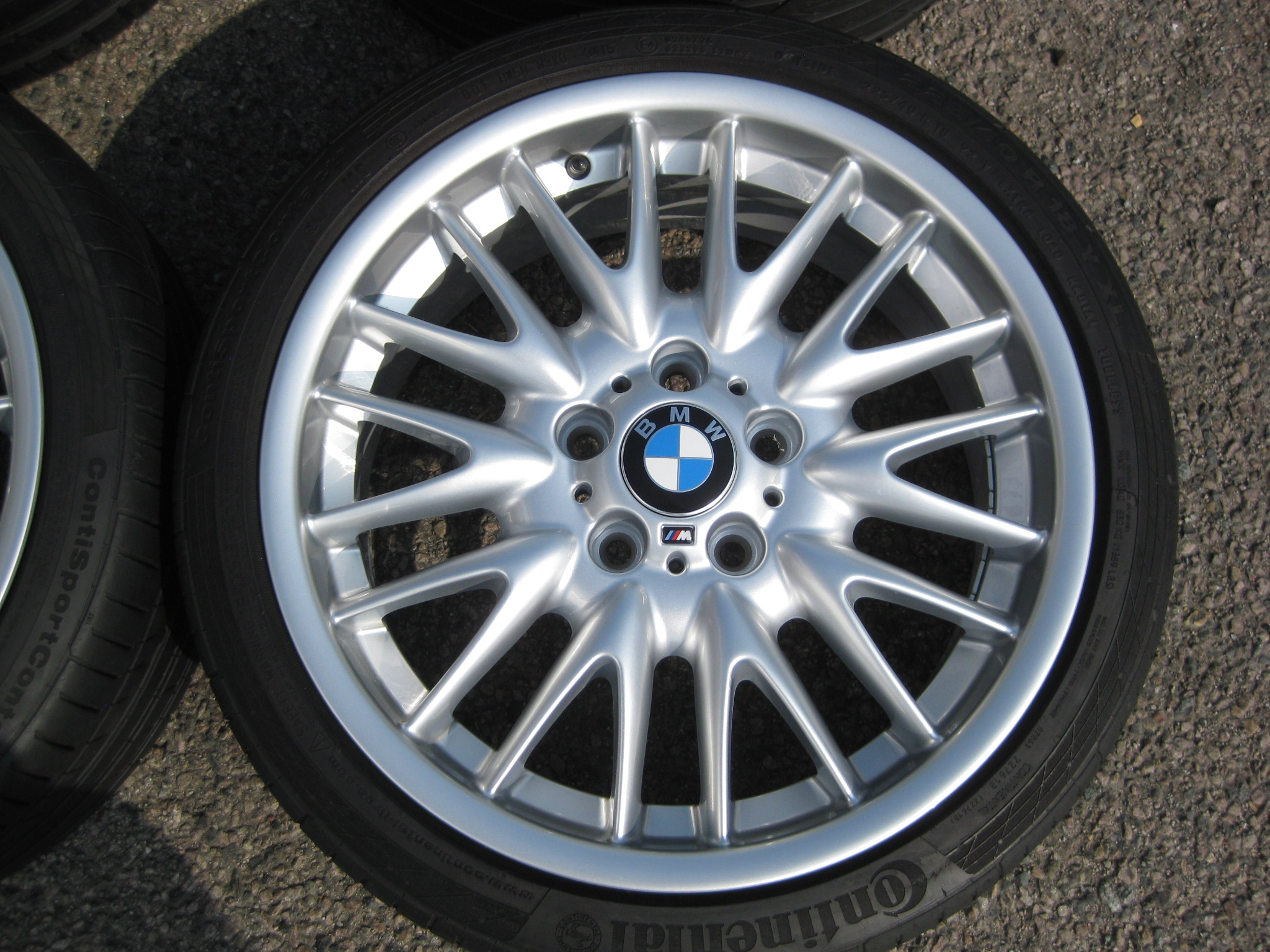 "USED 18"" GENUINE STYLE 72 E46 MV SPORT ALLOYS,WIDE REAR,FULLY REFURBED INC GOOD TYRES"