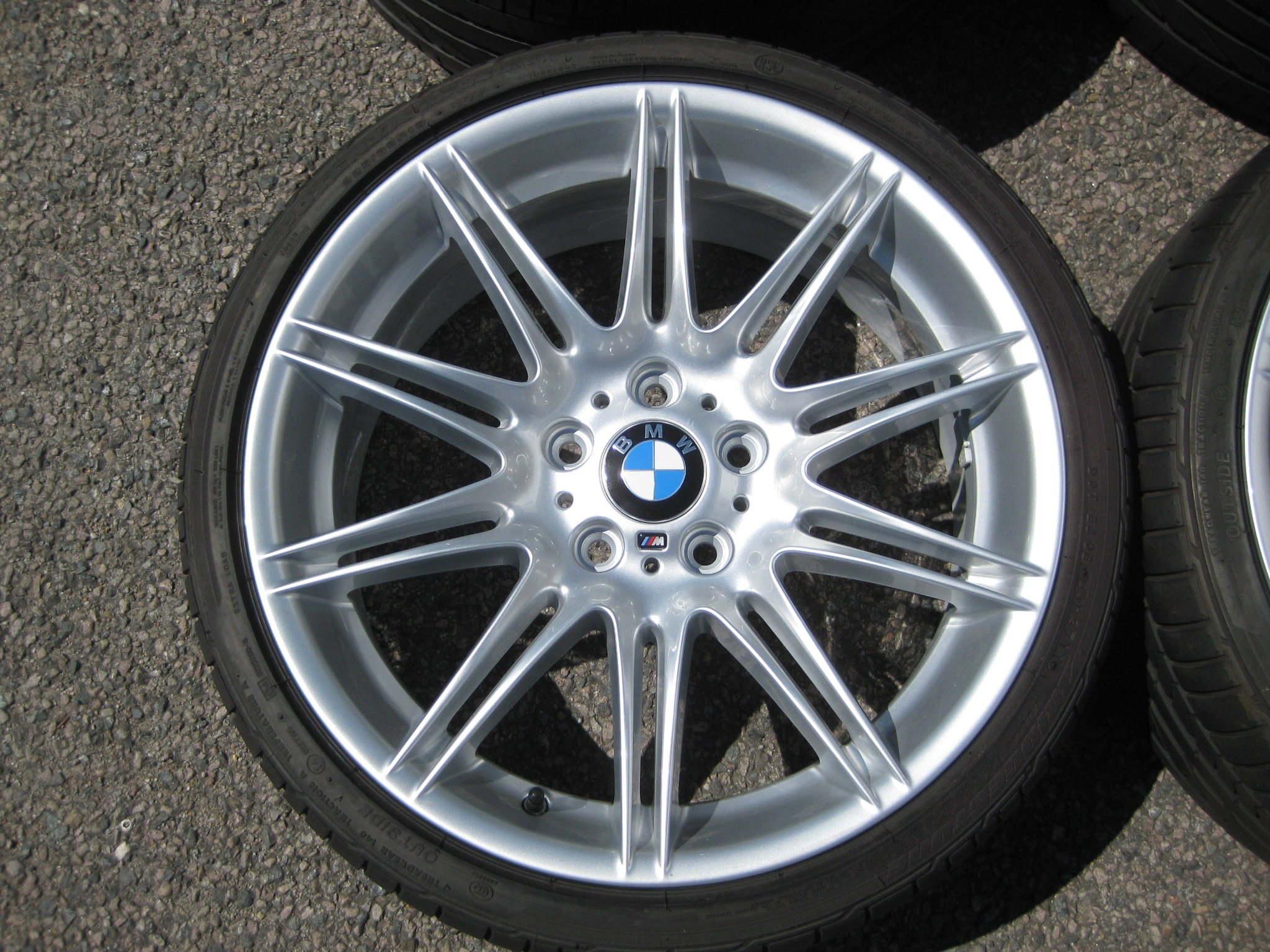 "USED 19"" GENUINE BMW STYLE 225M SPORT E92 ALLOY WHEELS, WIDE REAR, FULLY REFURBED INC GOOD BRIDGESTONE RUNFLATS"