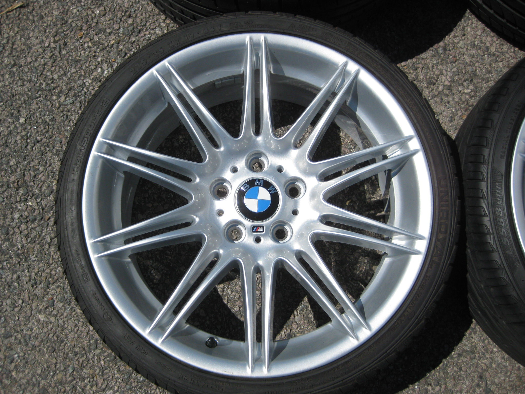 "USED 19"" GENUINE STYLE 225M SPORT E92 ALLOY WHEELS, WIDE REAR, FULLY REFURBED INC GOOD NON RUNFLAT TYRES"