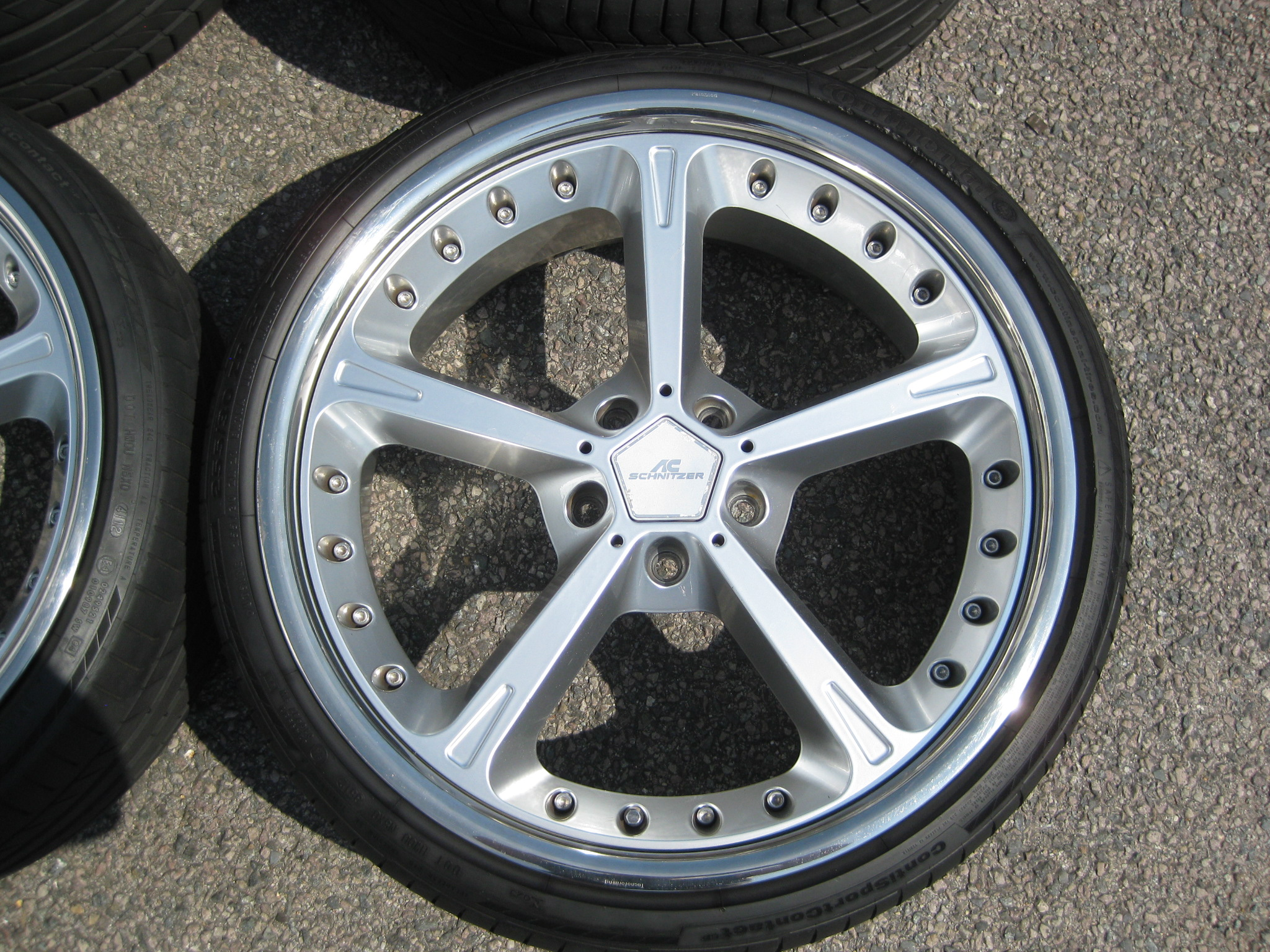 "USED 21"" GENUINE AC SCHNITZER TYPE IV RACING ALLOYS,VG ORIGINAL CONDITION INC EXCELLENT CONTINENTAL TYRES"