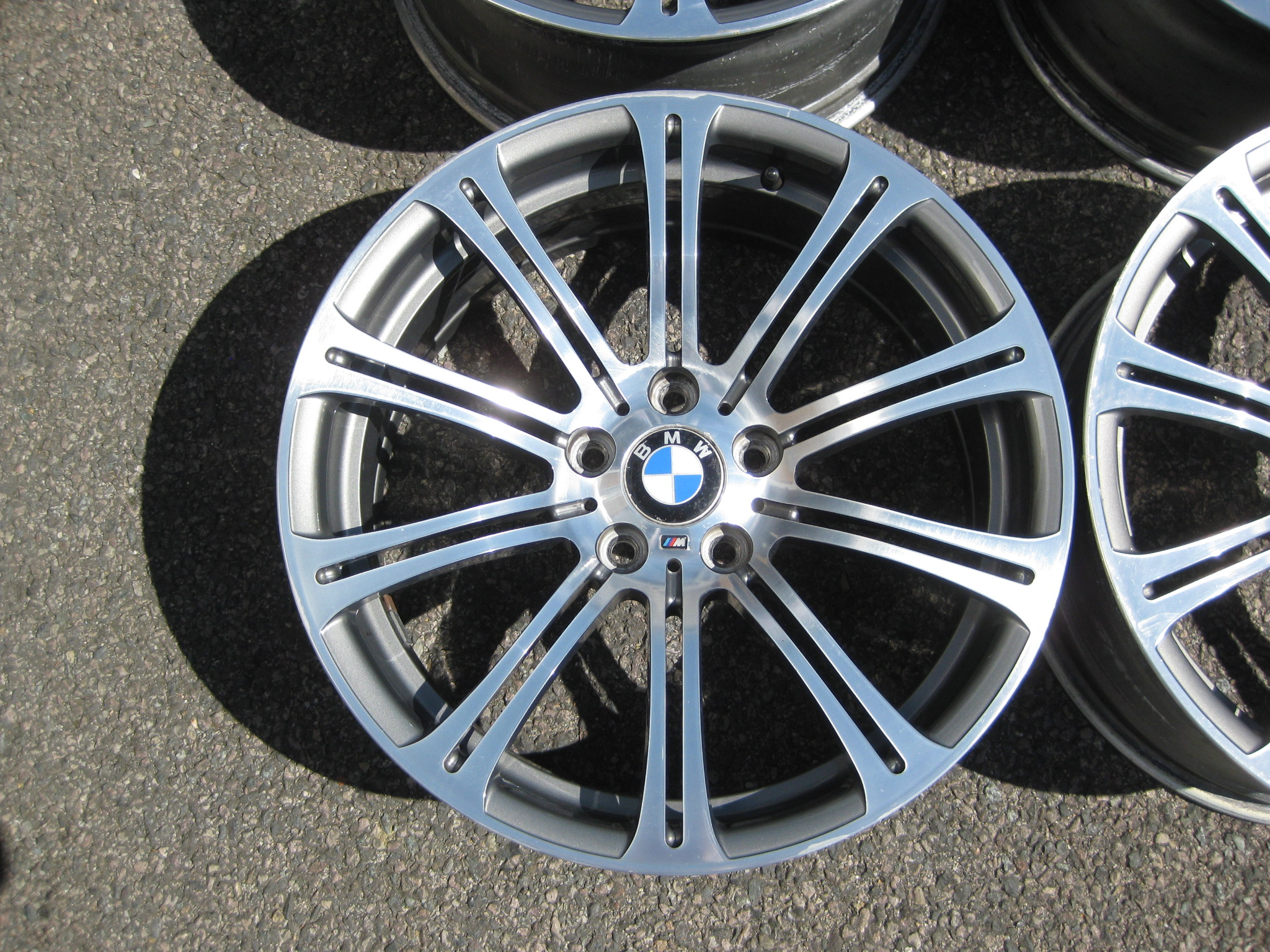 "USED 19"" GENUINE BMW STYLE 220 E92 M3 POLISHED FORGED ALLOY WHEELS, WIDE REAR, GOOD ORIGINAL CONDITION"