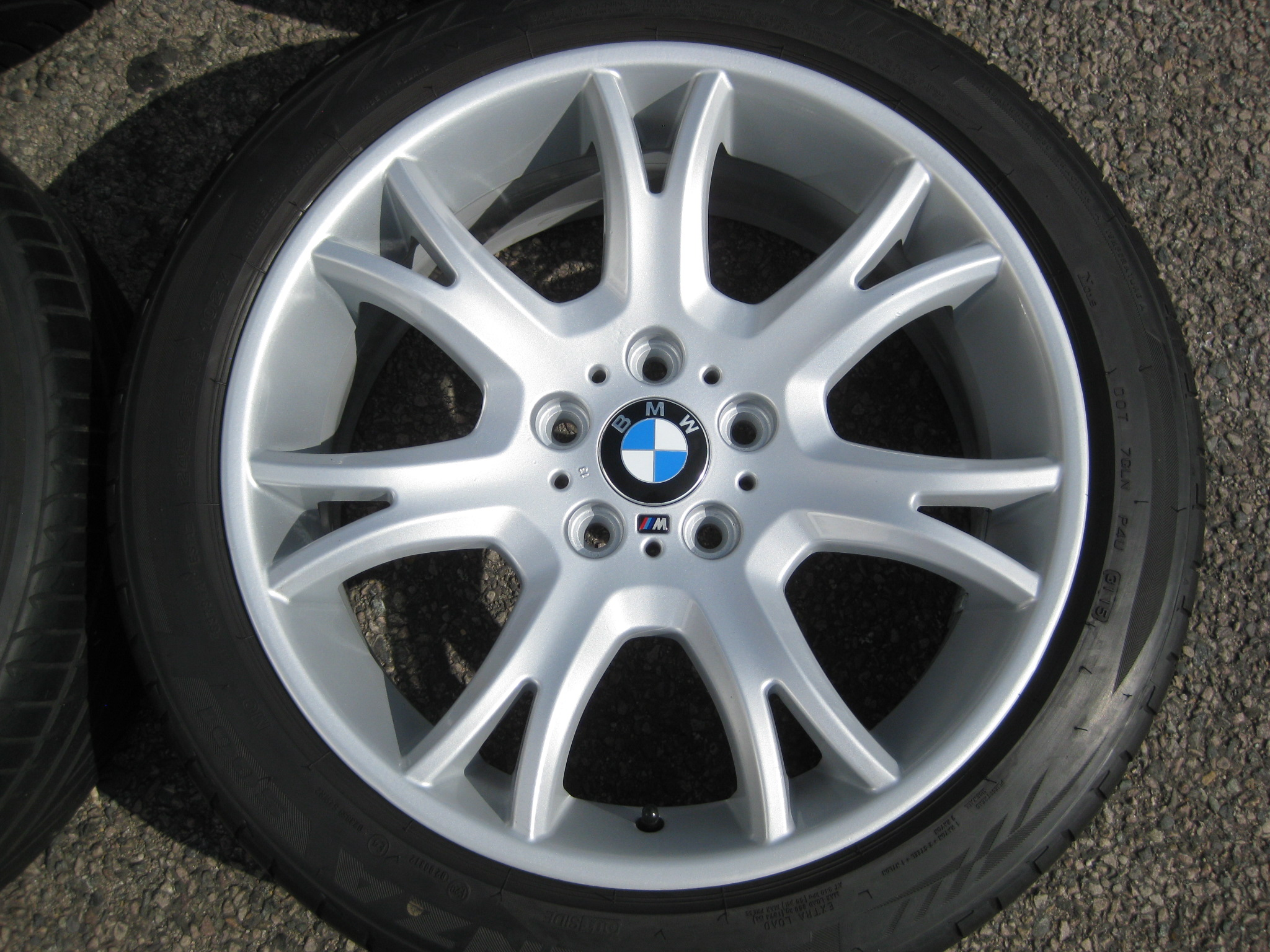 "USED 19"" GENUINE STYLE 191 BMW SPORT Y SPOKE ALLOYS, WIDE REAR,FULLY REFURBED INC PART WORN TYRES"