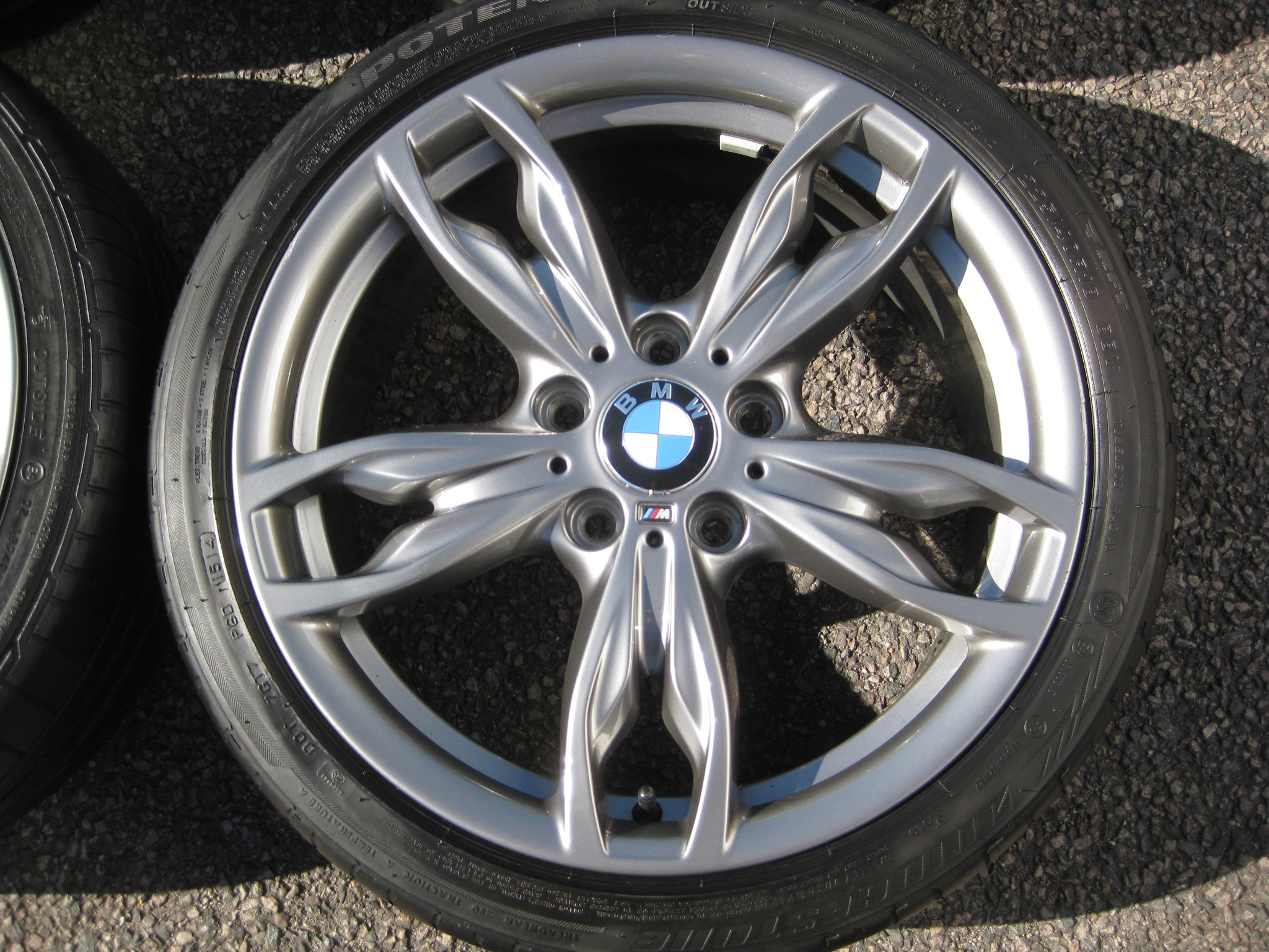 "USED 18"" GENUINE STYLE 436M DOUBLE SPOKE ALLOY WHEELS,VGC,WIDE REAR INC BRIDGESTONE RUNFLATS"