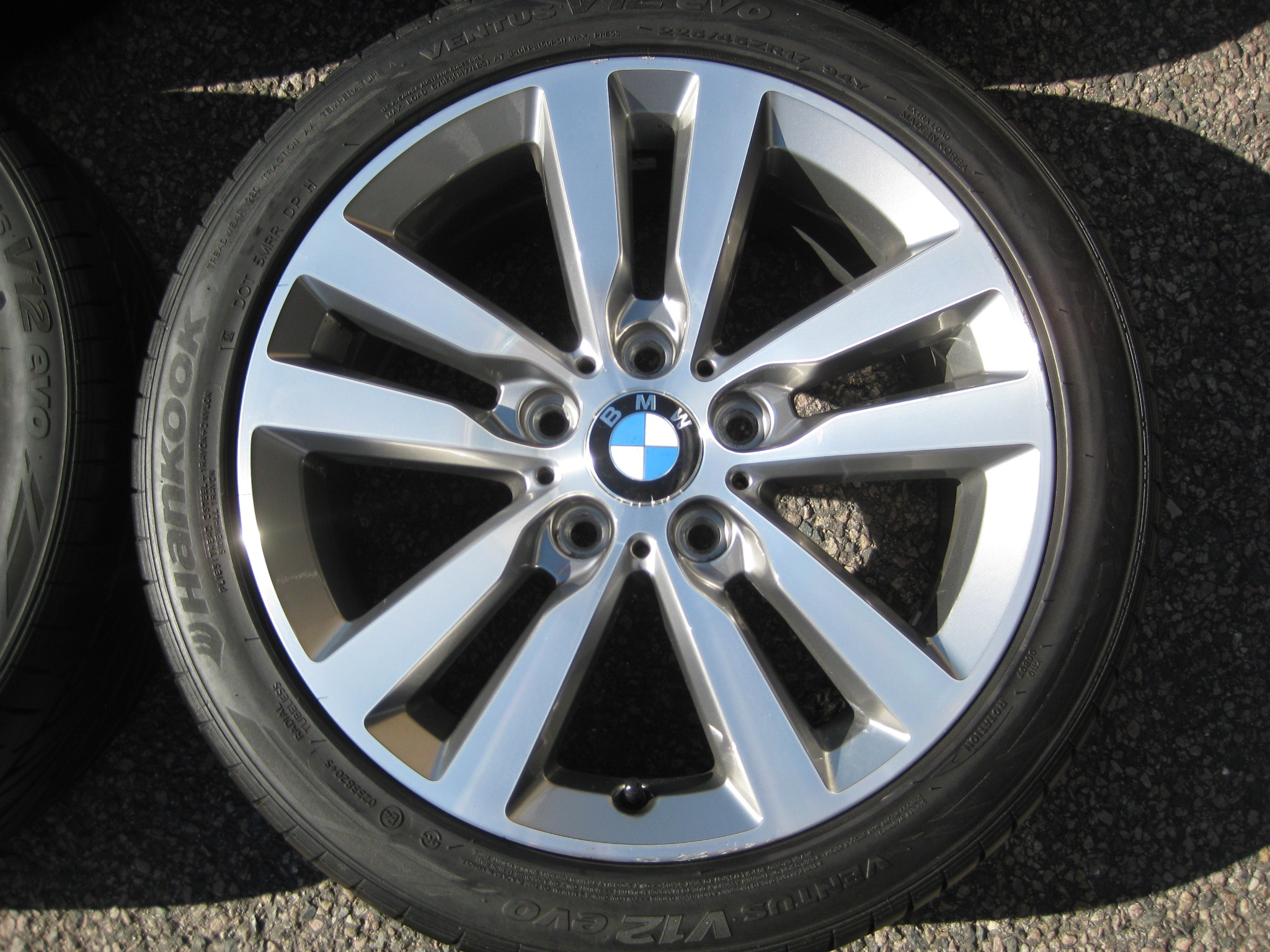 "USED 17"" GENUINE STYLE 655 DOUBLE SPOKE ALLOY WHEELS,GUNMETAL/POLISHED INC VERY GOOD TYRES"