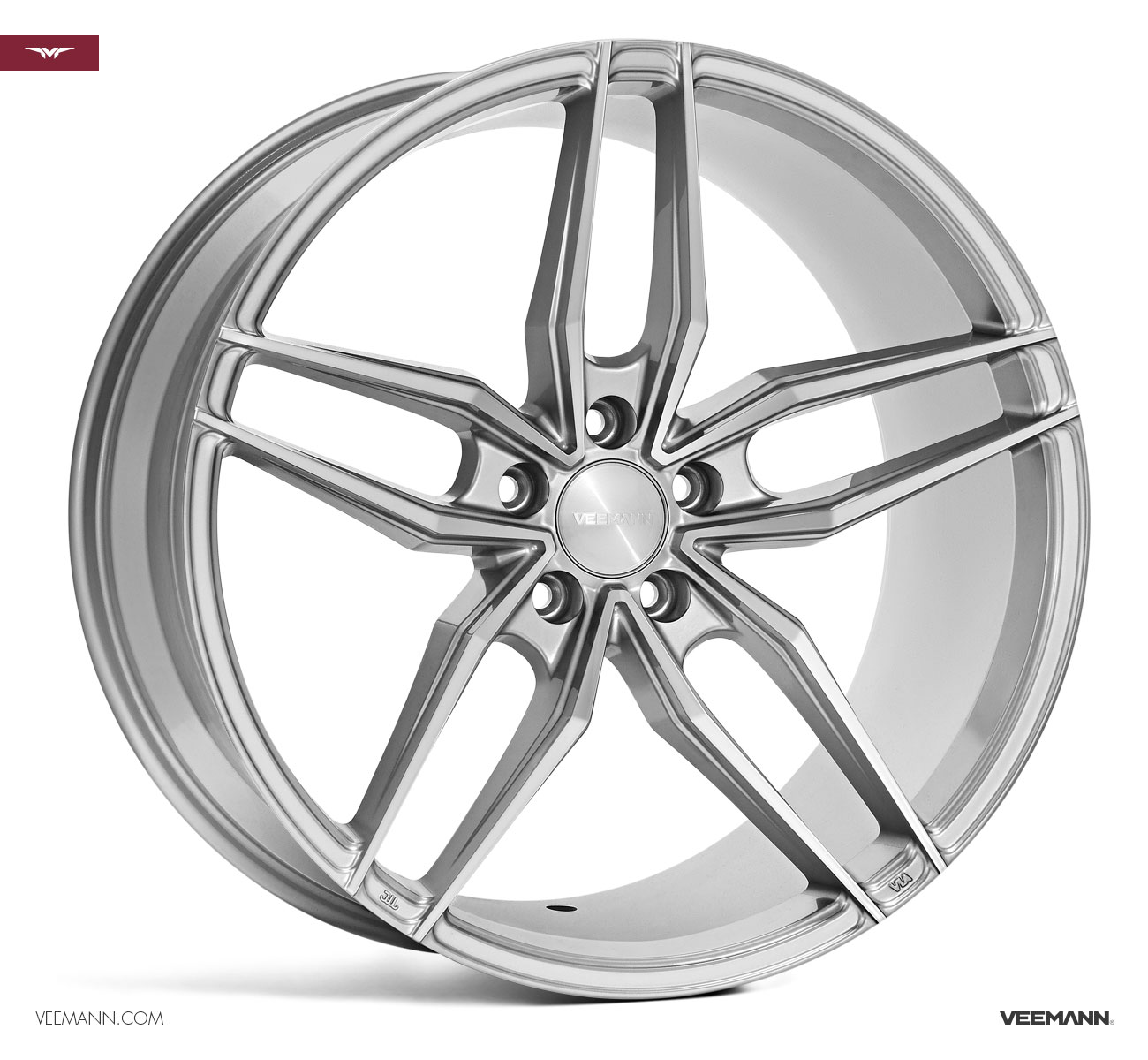 "NEW 19"" VEEMANN V-FS37 ALLOY WHEELS IN SILVER POL WITH WIDER 9.5"" REARS"