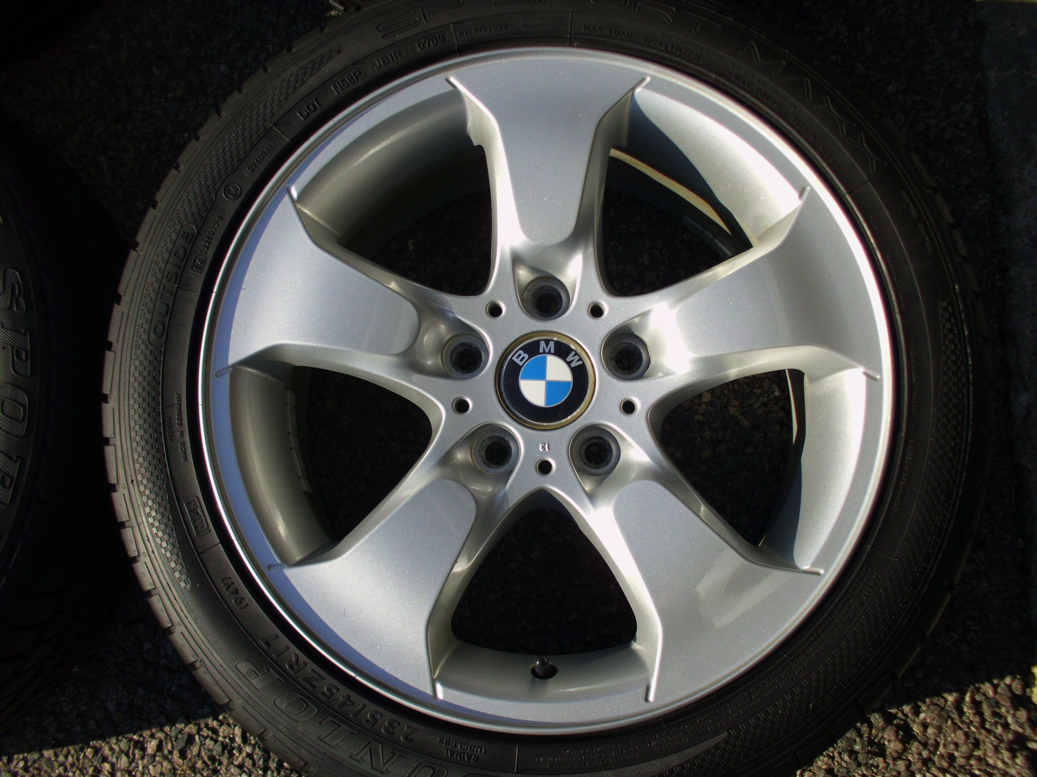 "USED 17"" GENUINE STYLE 204 5 SPOKE ALLOY WHEELS, VGC INC GOOD DUNLOP TYRES"