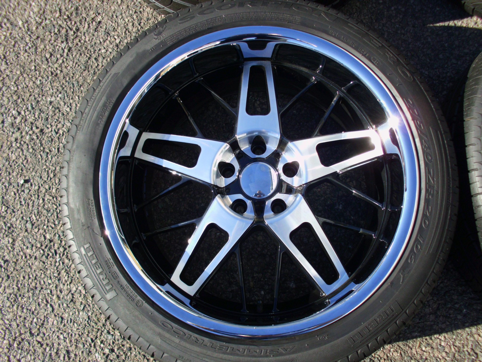 "NEW 20"" AC6 BLACK/POLISHED WHEELS WITH DEEP INOX DISH INC GOOD TYRES"