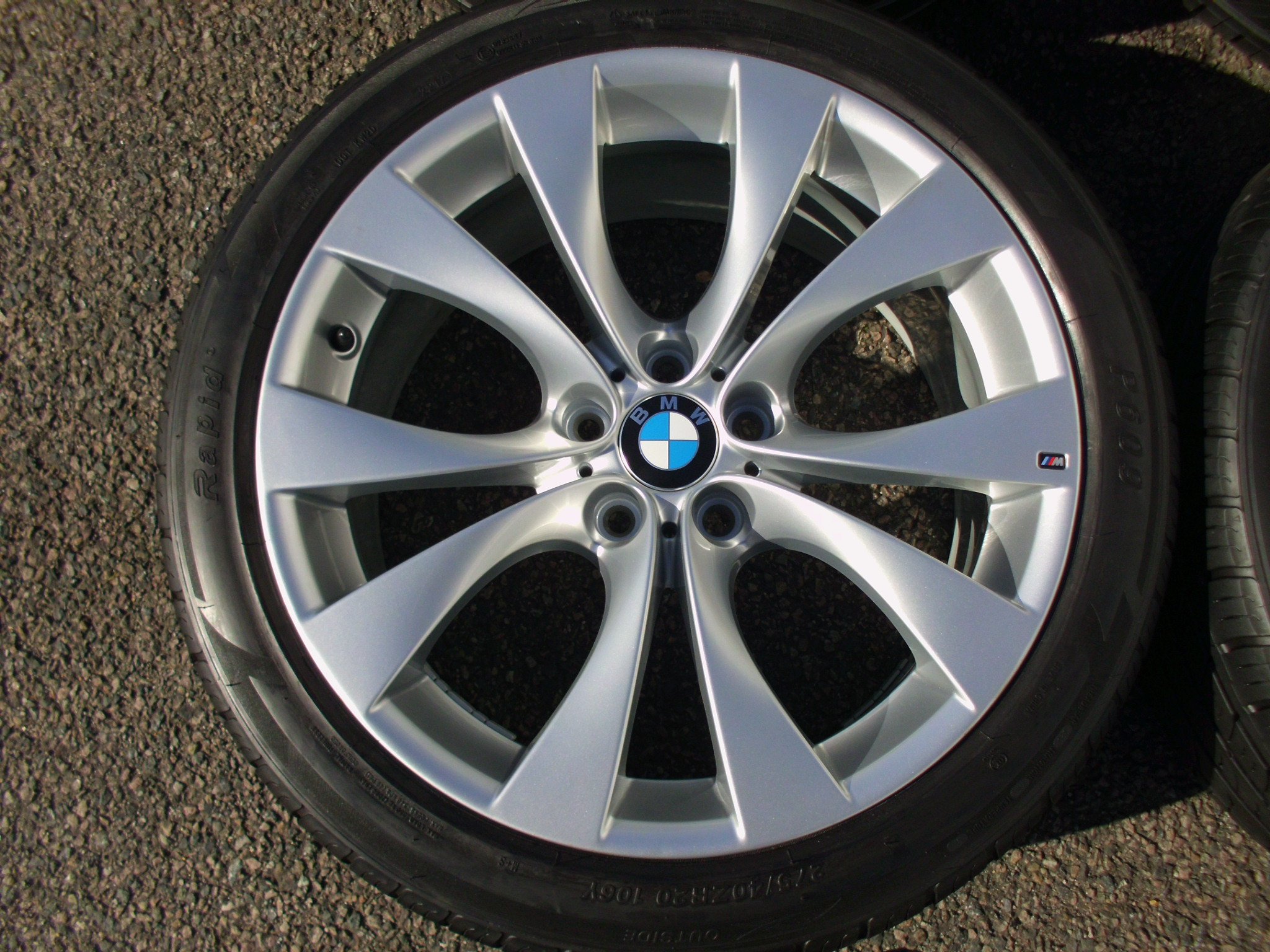"USED 20"" GENUINE STYLE 227M E70 X5/X6 U SPOKE SPORT ALLOYS, FULLY REFURBED, 11"" REAR, INC VERY GOOD NON RUNFLAT'S"