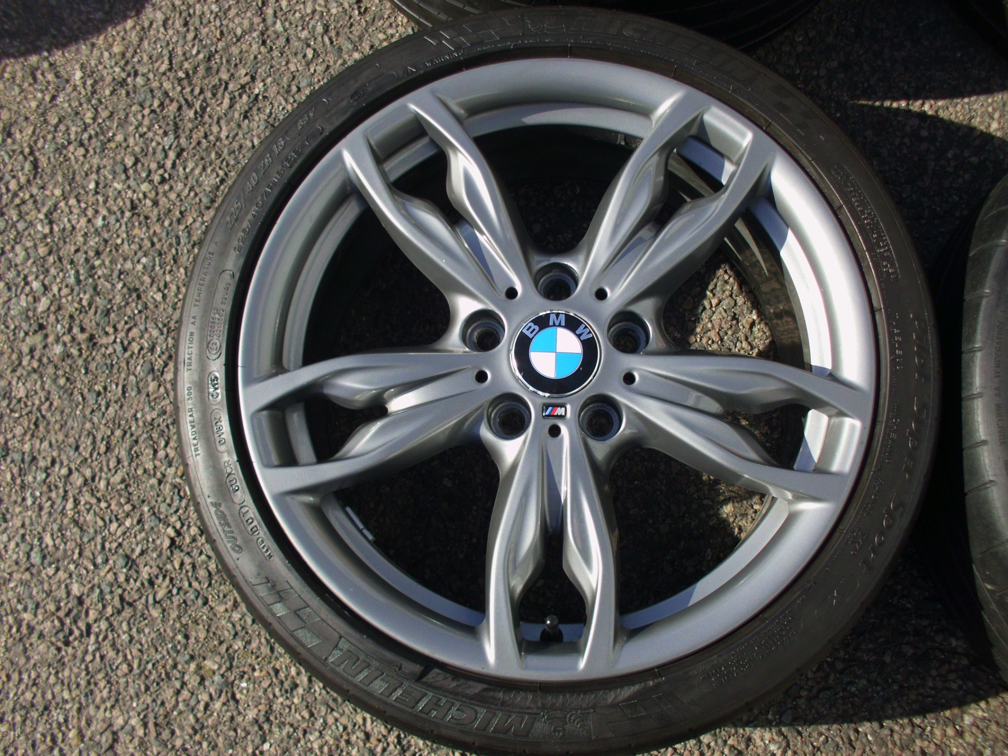 "USED 18"" GENUINE STYLE 436M DOUBLE SPOKE ALLOYS,VGC,WIDE REAR INC MICHELINS"