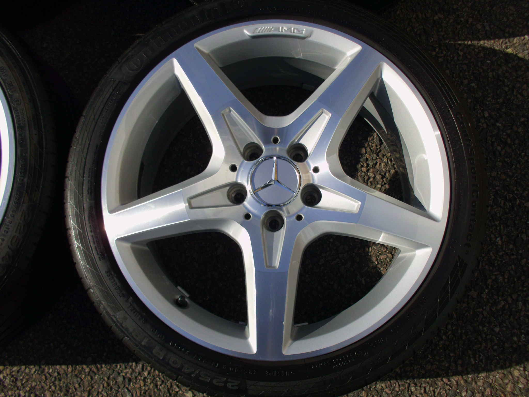 "USED 18"" GENUINE MERCEDES SLK R172 AMG 5 SPOKE ALLOYS,WIDER REARS,CLEAN INC CONTINENTAL TYRES"