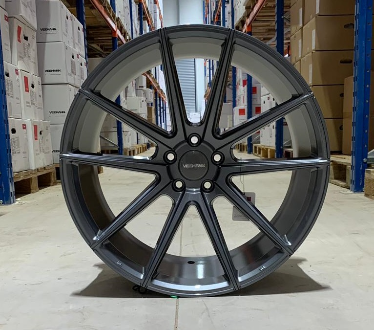 "NEW 21"" VEEMANN V-FS4 ALLOY WHEELS IN GLOSS GRAPHITE WITH DEEPER CONCAVE 10.5"" REARS et28/et43"