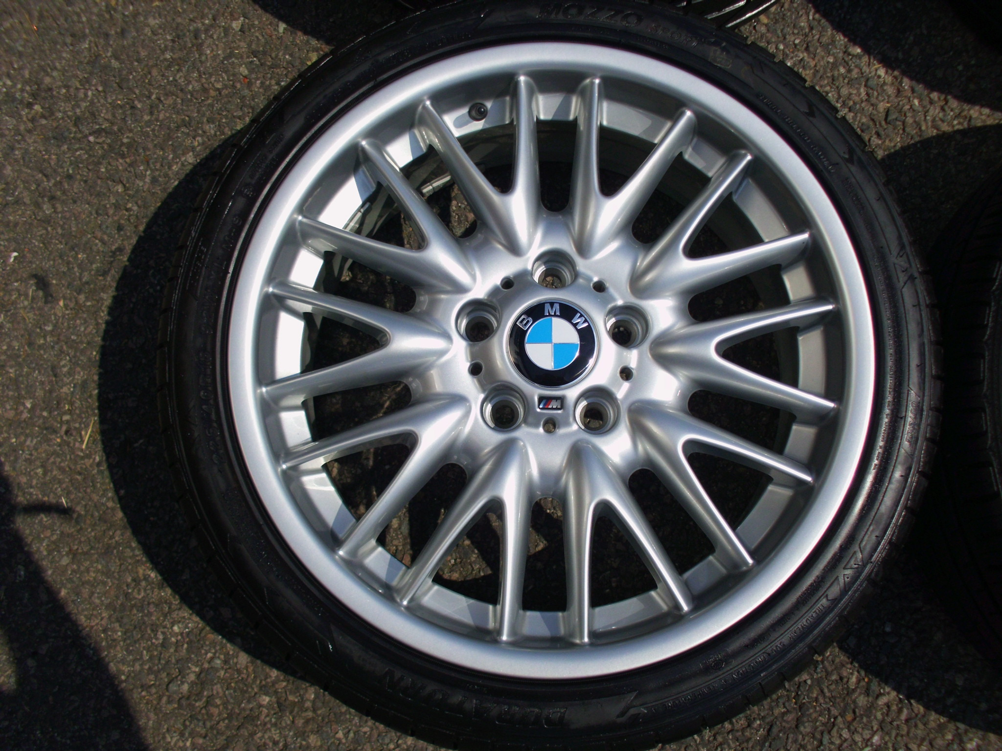 "USED 18"" GENUINE STYLE 72 E46 MV SPORT ALLOY WHEELS, WIDE REAR,FULLY REFURBED INC GOOD TYRES"