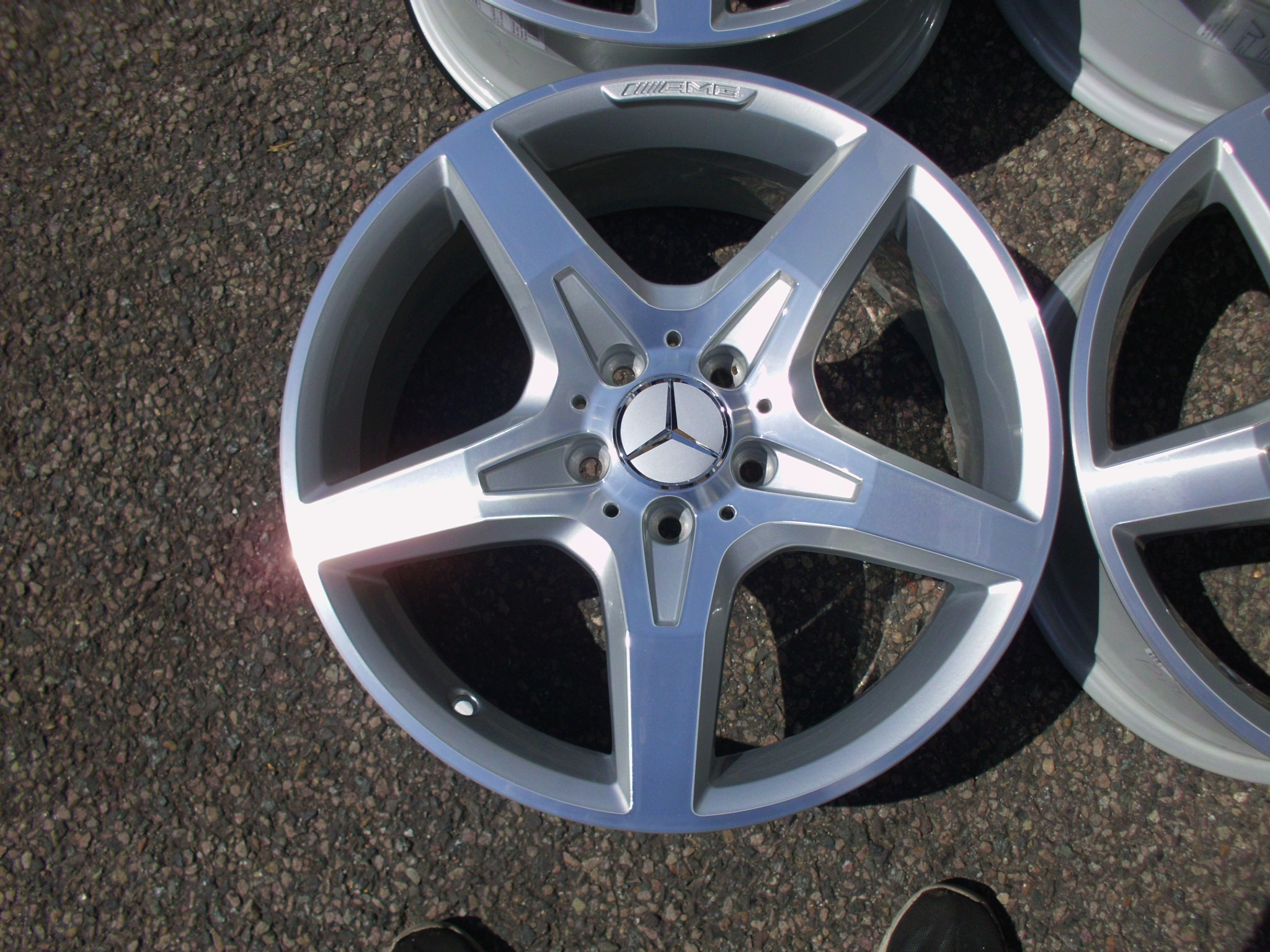 "USED 18"" GENUINE MERCEDES SLK R172 AMG 5 SPOKE ALLOY WHEELS,FULLY REFURBISHED, WIDER REARS"