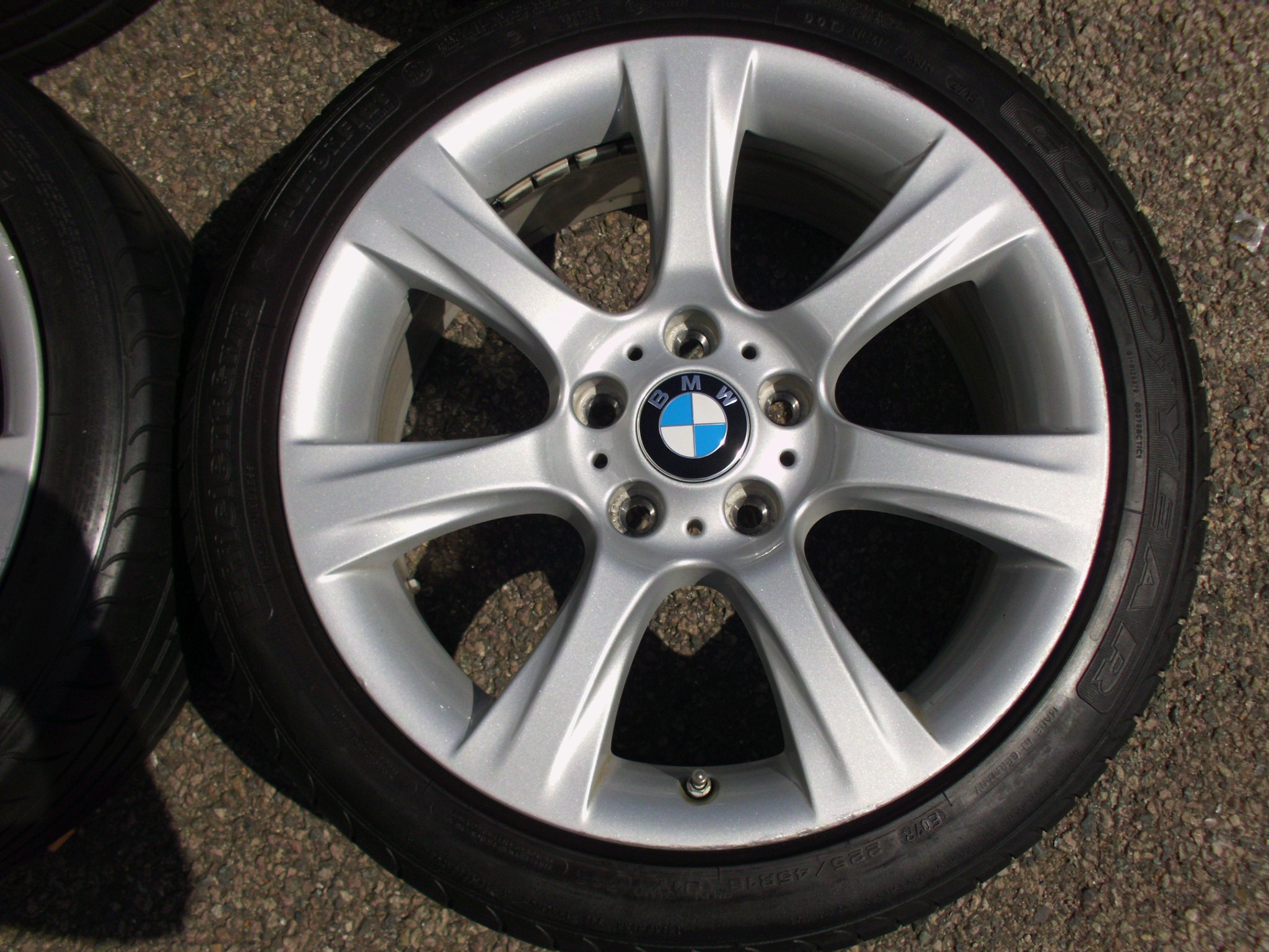 "USED 18"" GENUINE STYLE 396 7 SPOKE ALLOY WHEELS,GC INC GOODYEAR RUNFLAT TYRES AND TPMS SENSORS"