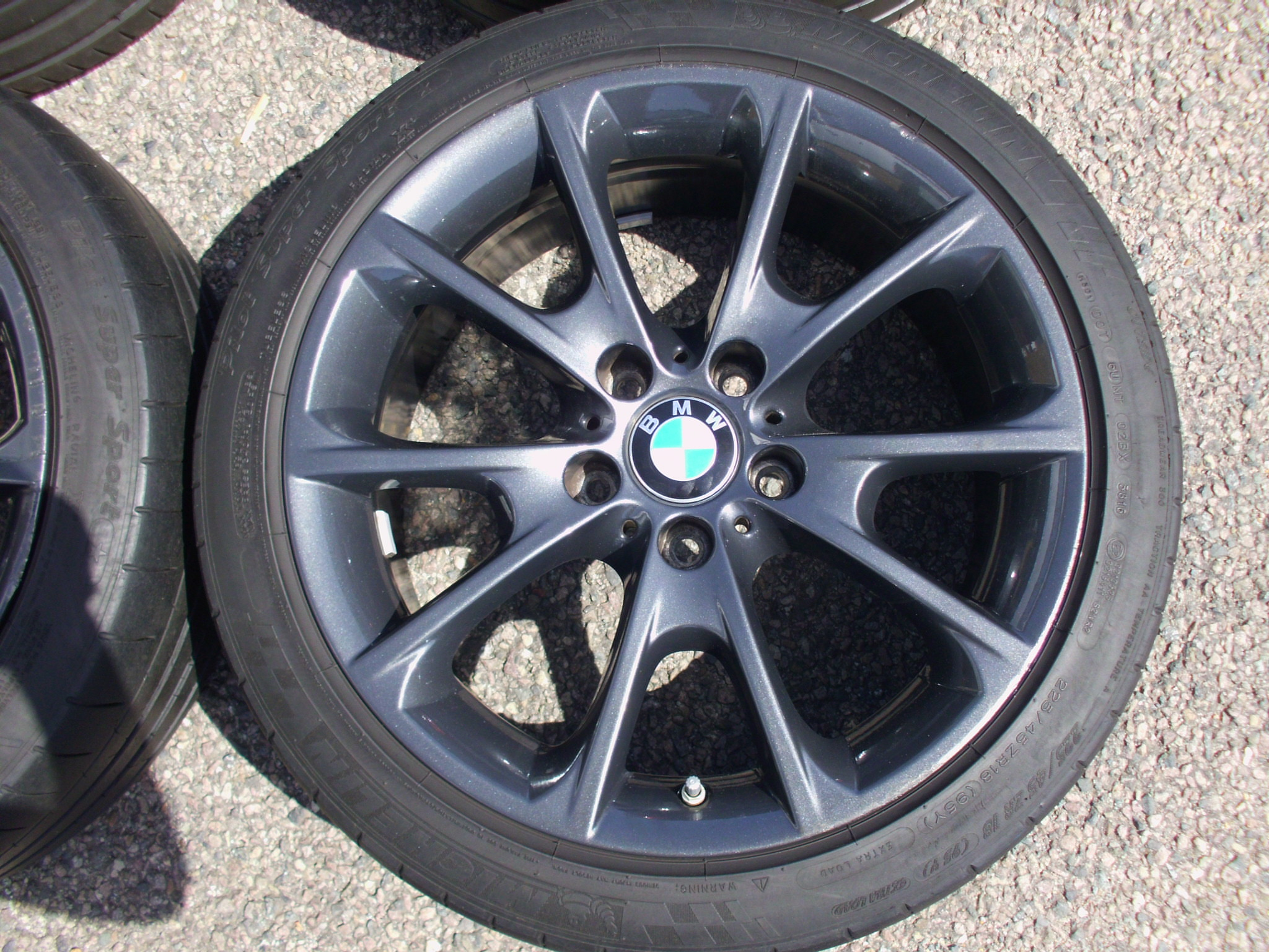 "USED 18"" GENUINE STYLE 398 SPORT ALLOY WHEELS, ORBIT GREY, WIDER REARS,GOOD CONDITION, INC MICHELIN PILOTS TYRES + TPMS"