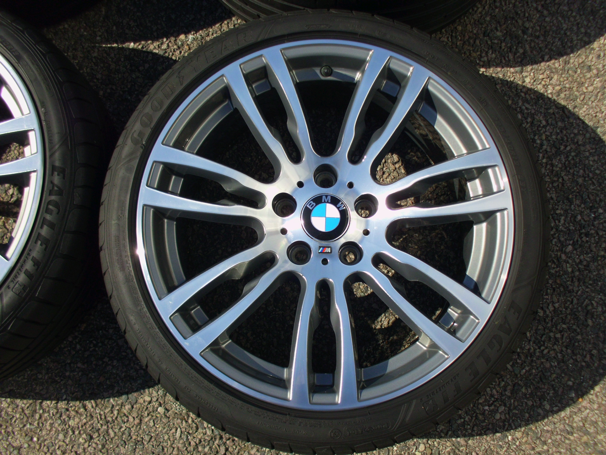 "USED 19"" GENUINE STYLE 403 F30/31 M DOUBLE SPOKE ALLOYS WHEELS, FULLY REFURBED INC GOOD GOODYEAR RUNFLATS"