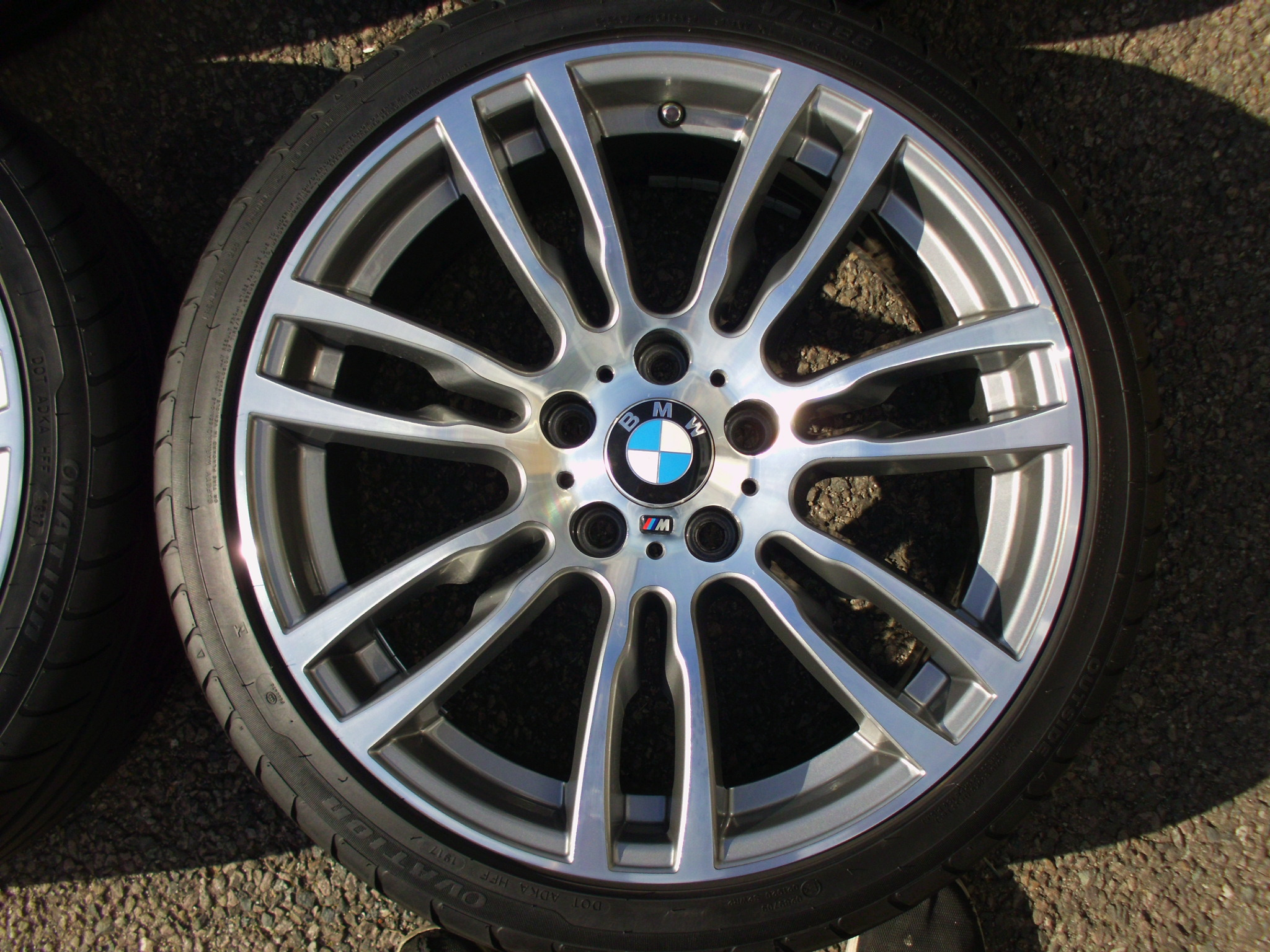 "USED 19"" GENUINE STYLE 403 F30/31 M DOUBLE SPOKE ALLOYS WHEELS, RECENT REFURB INC GOOD NON RUNFLAT TYRES"