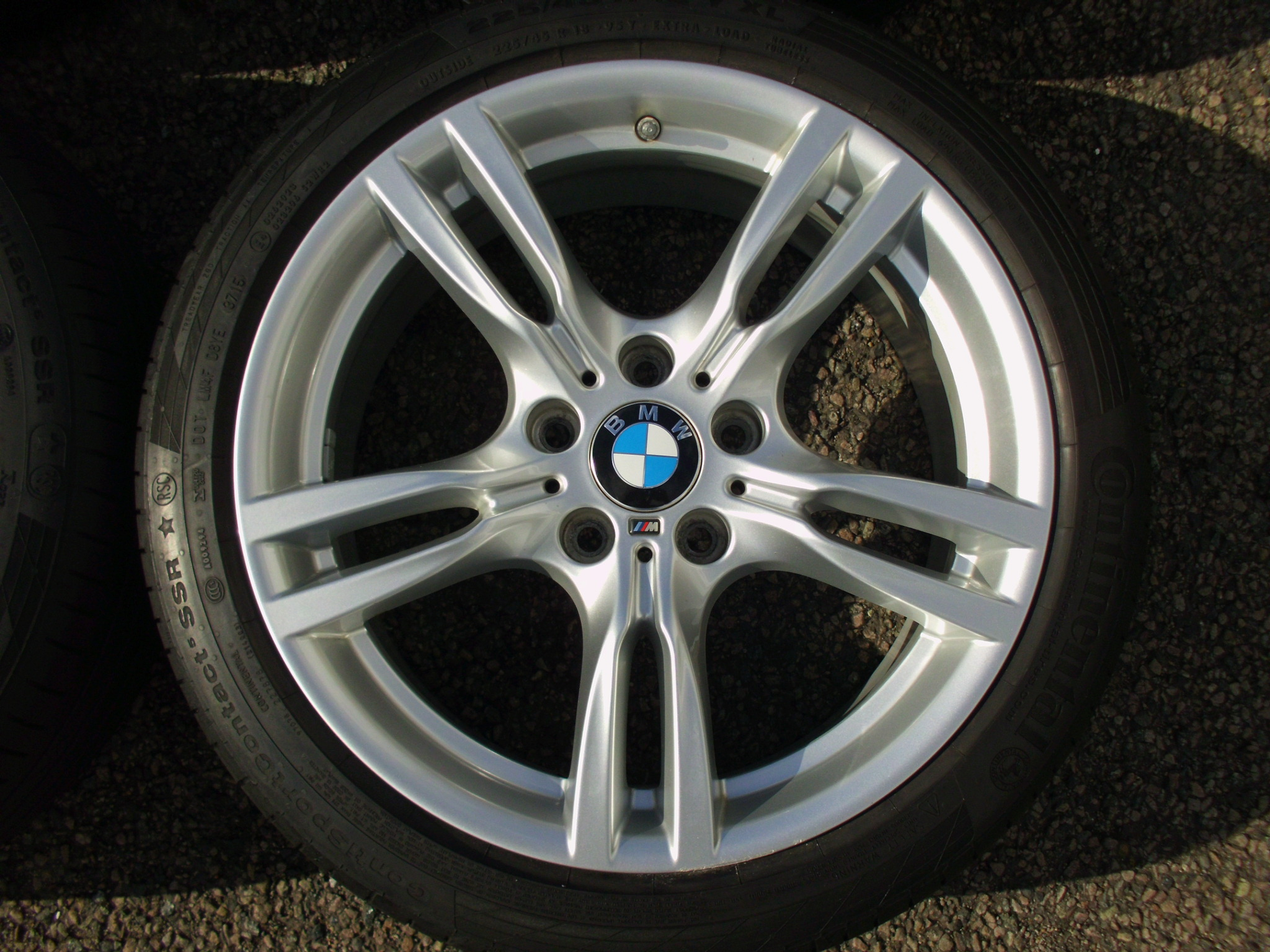 "USED 18"" GENUINE STYLE 400 M SPORT ALLOY WHEELS, WIDER REARS,VGC, INC GOOD CONTINENTAL RUNFLAT TYRES + TPMS"