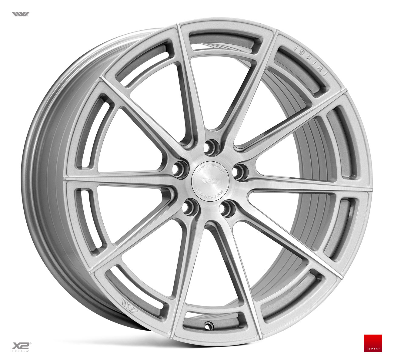 "NEW 20"" ISPIRI FFR2 MULTI-SPOKE ALLOY WHEELS IN PURE SILVER BRUSHED, WIDER 10"" REAR"