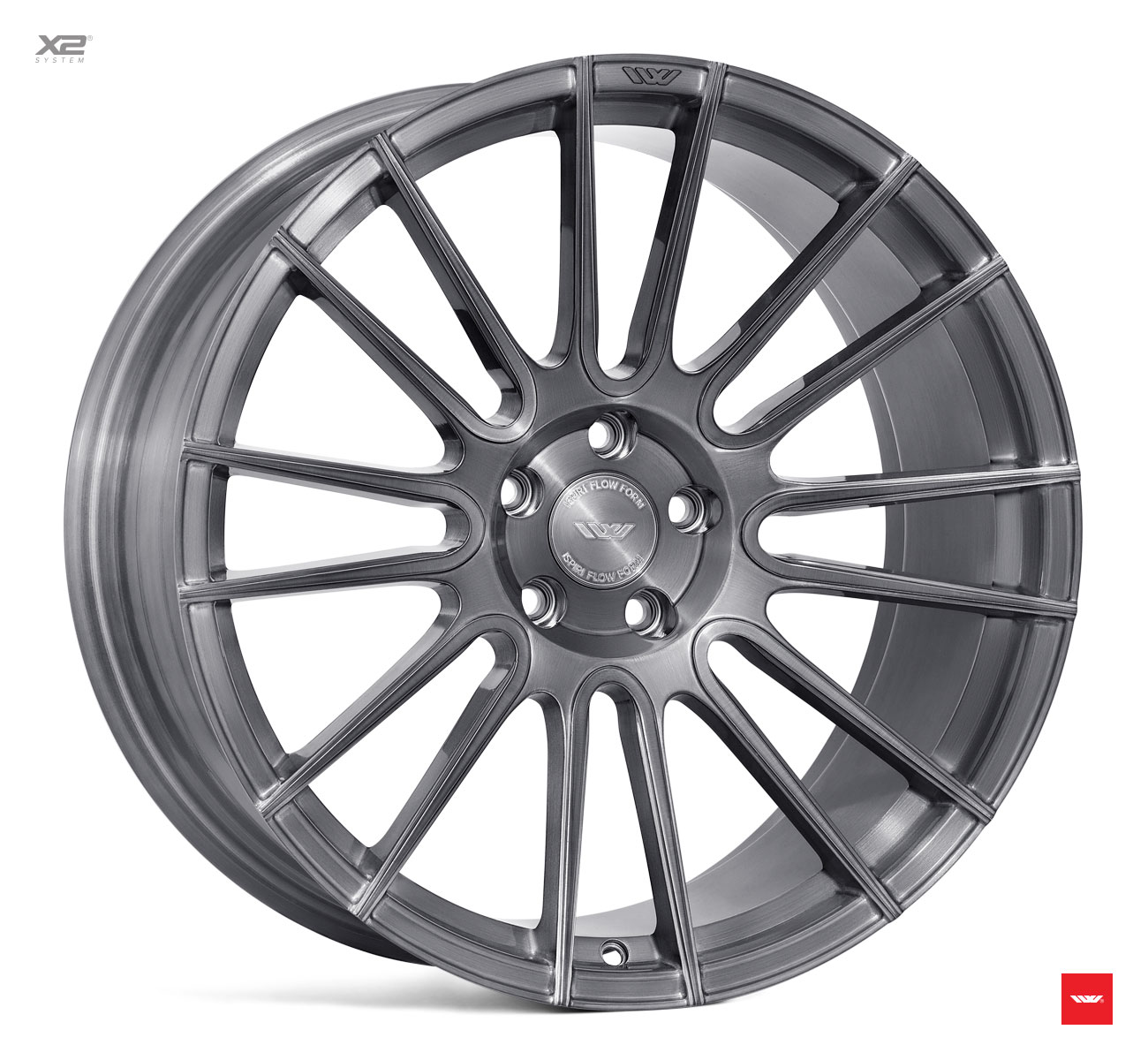 "NEW 20"" ISPIRI FFR8 8-TWIN CURVED SPOKE ALLOY WHEELS IN FULL BRUSHED CARBON TITANIUM, WIDER 10"" REAR"
