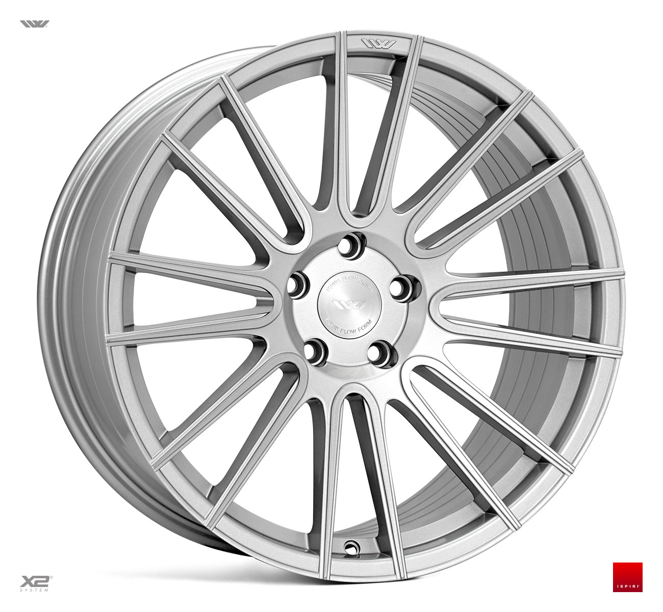 "NEW 20"" ISPIRI FFR8 8-TWIN CURVED SPOKE ALLOY WHEELS IN PURE SILVER BRUSHED, WIDER 10"" REARS"