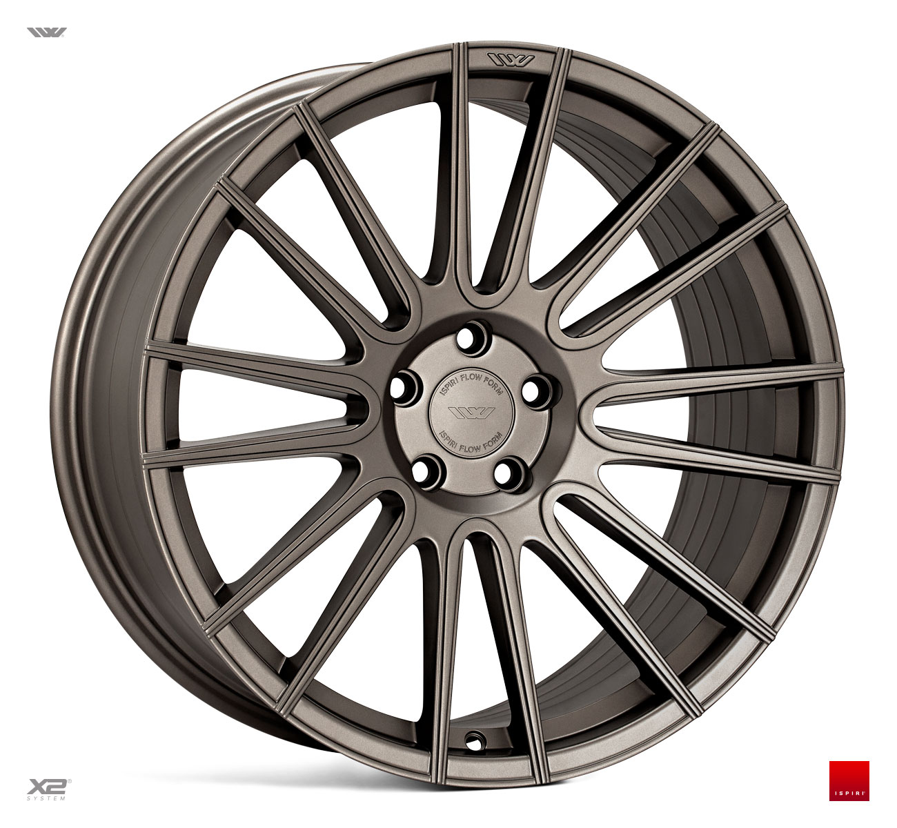 "NEW 20"" ISPIRI FFR8 8-TWIN CURVED SPOKE ALLOY WHEELS IN MATT CARBON BRONZE, WIDER 10"" REARS"