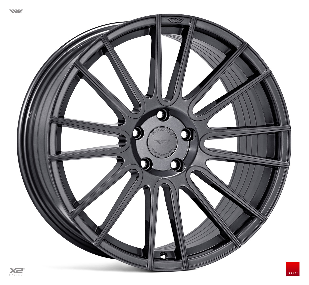 "NEW 20"" ISPIRI FFR8 8-TWIN CURVED SPOKE ALLOY WHEELS IN CARBON GRAPHITE, WIDER 10"" REARS"