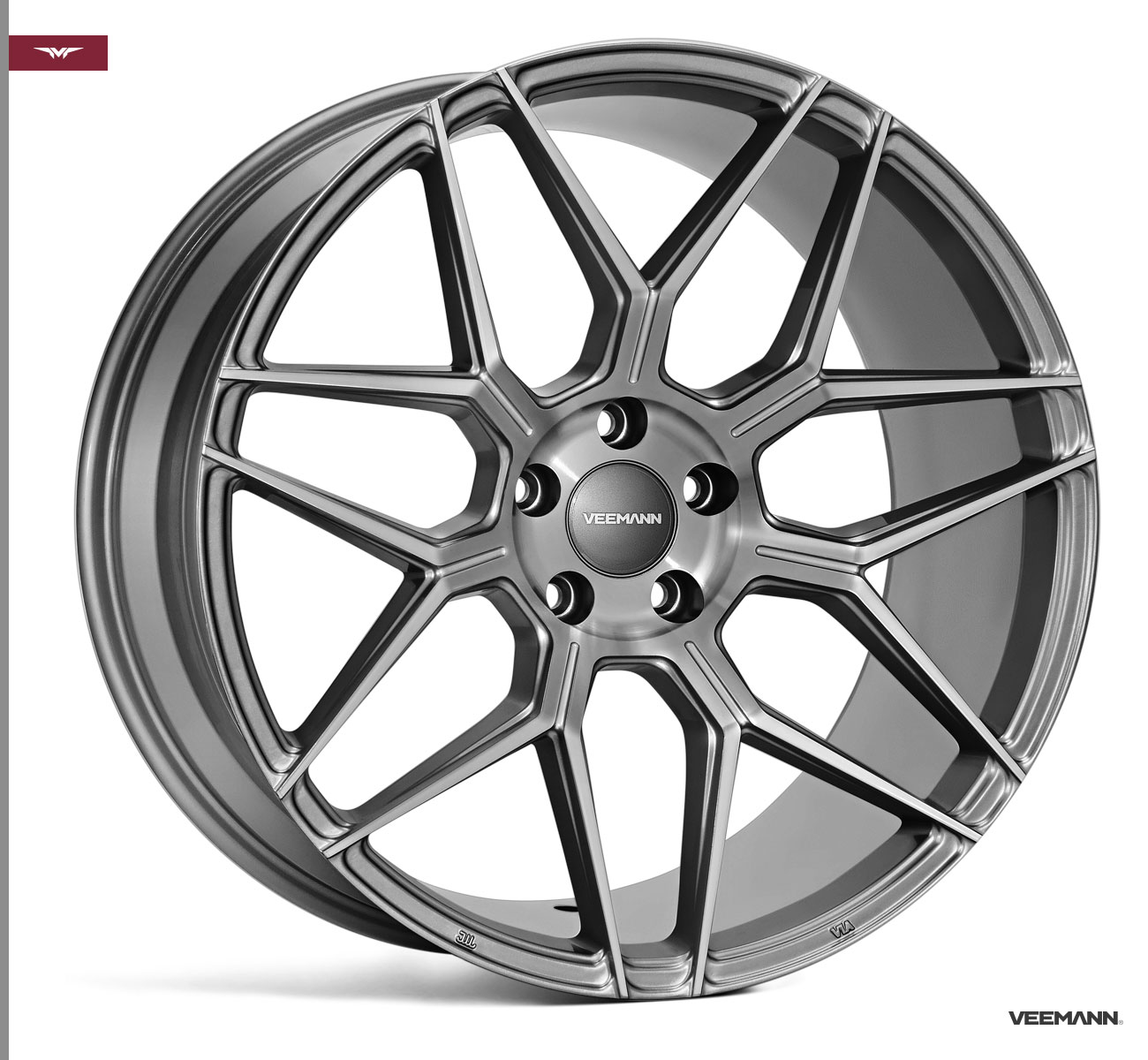 "NEW 18"" VEEMANN V-FS38 ALLOY WHEELS IN GLOSS GRAPHITE WITH WIDER 9"" REAR"