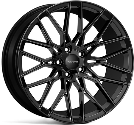 "NEW 19"" VEEMANN V-FS34 ALLOY WHEELS IN GLOSS BLACK WITH WIDER 9.5"" REARS"