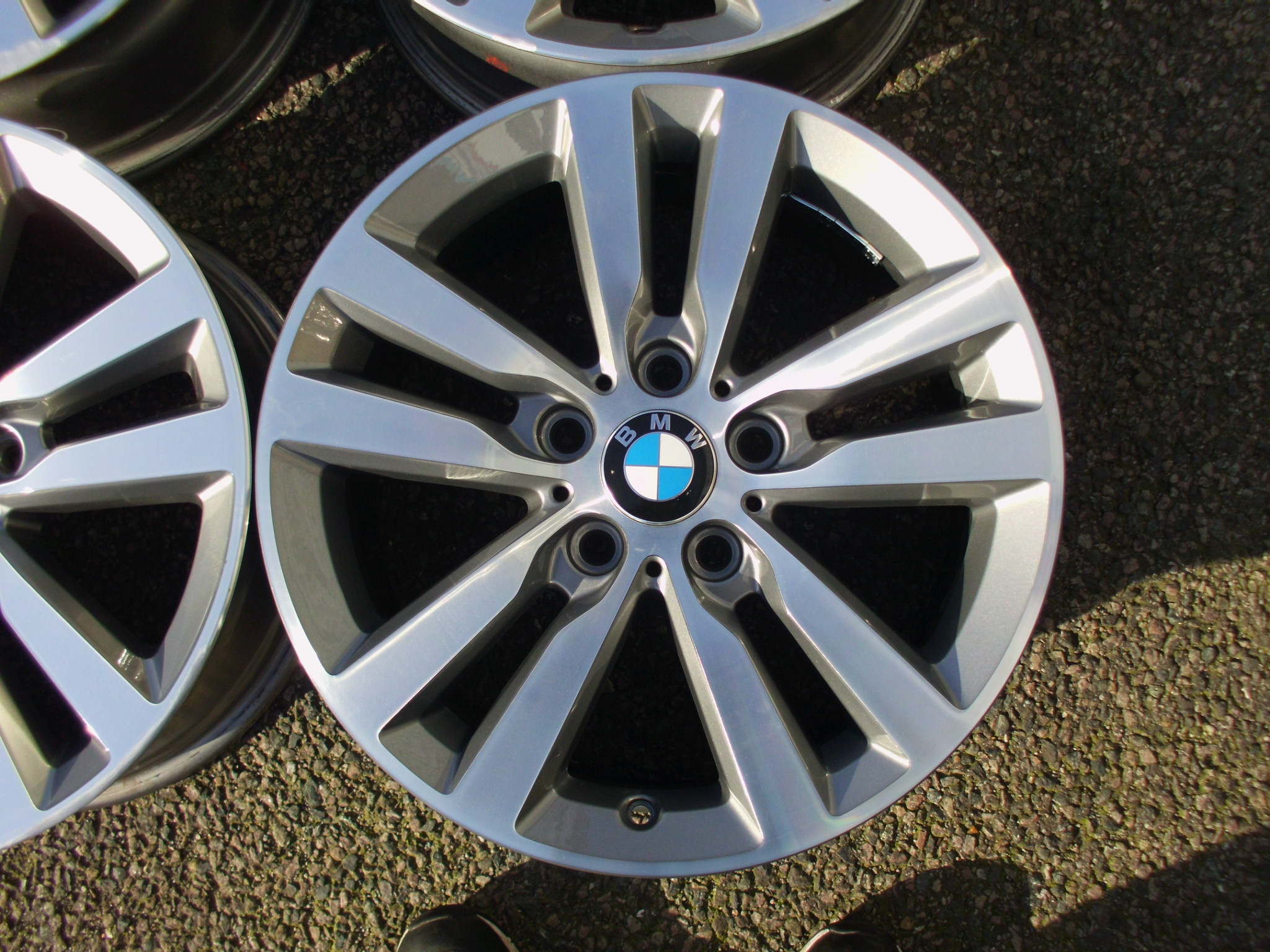 "USED 17"" GENUINE BMW STYLE 655 DOUBLE SPOKE ALLOY WHEELS,GOOD CONDITION, IN LIGHT GUNMETAL WITH POLISHED FACE"