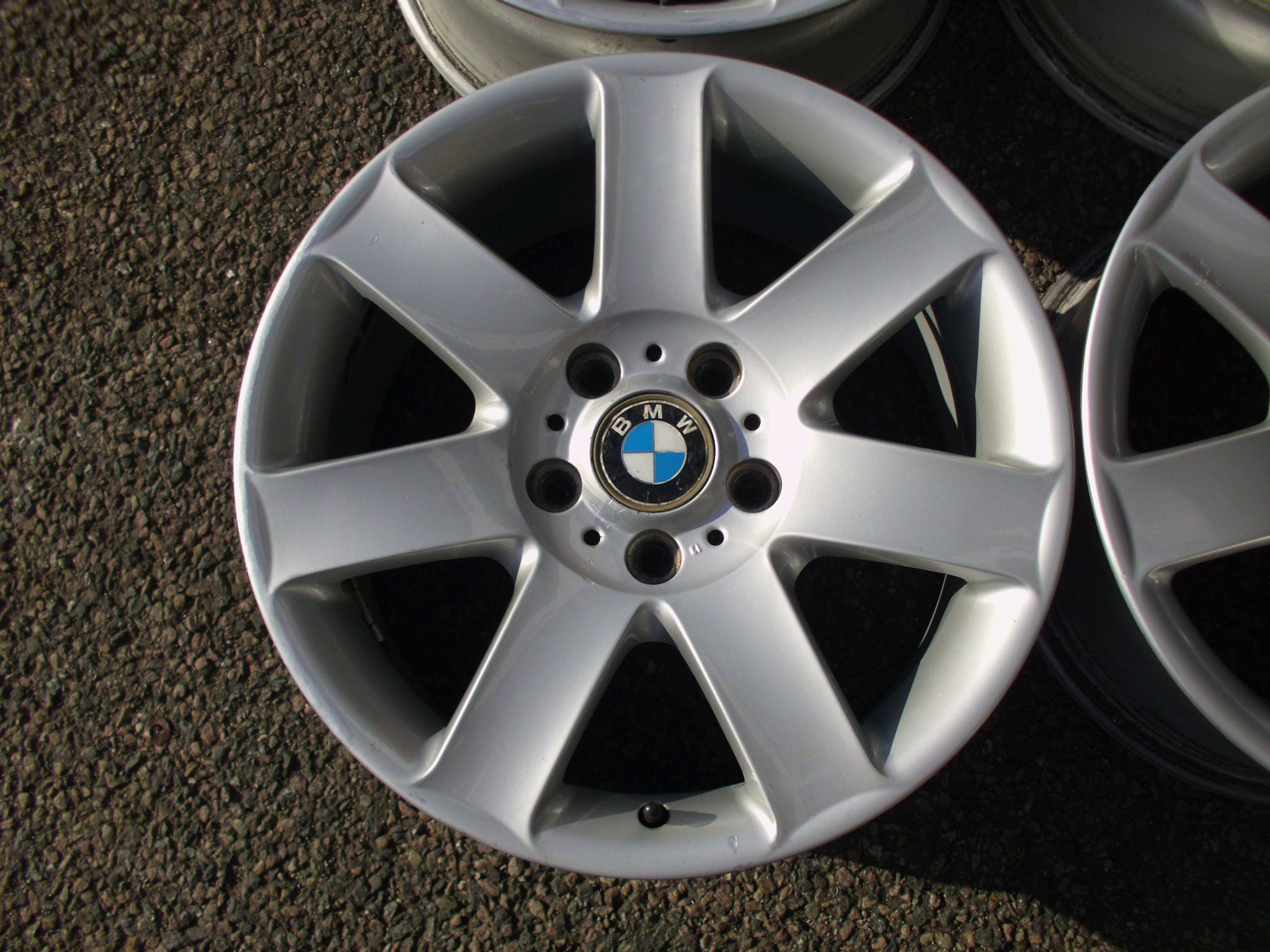 "USED 17"" GENUINE BMW STYLE 44 E46 7 SPOKE ALLOY WHEELS,CLEAN"