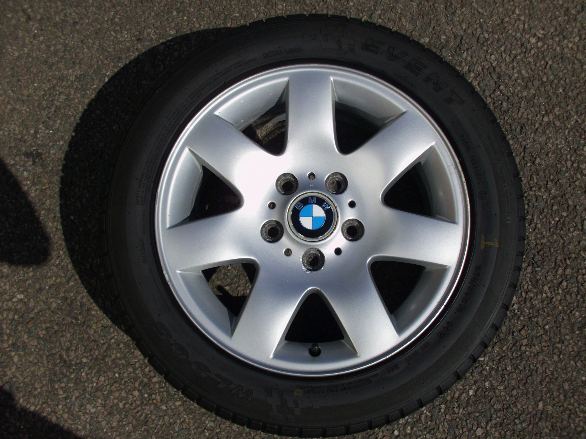 "USED SINGLE 16"" GENUINE BMW STYLE 45 7 SPOKE ALLOY WHEEL ,CLEAN,INC GOOD 205/55/16 TYRE"