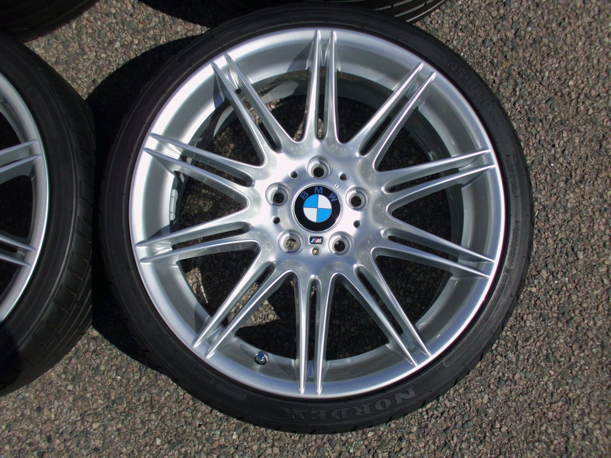 "USED 19"" GENUINE BMW STYLE 225M SPORT E92 ALLOY WHEELS, WIDE REAR, FULLY REFURBED INC GOOD NON RUNFLAT TYRES"