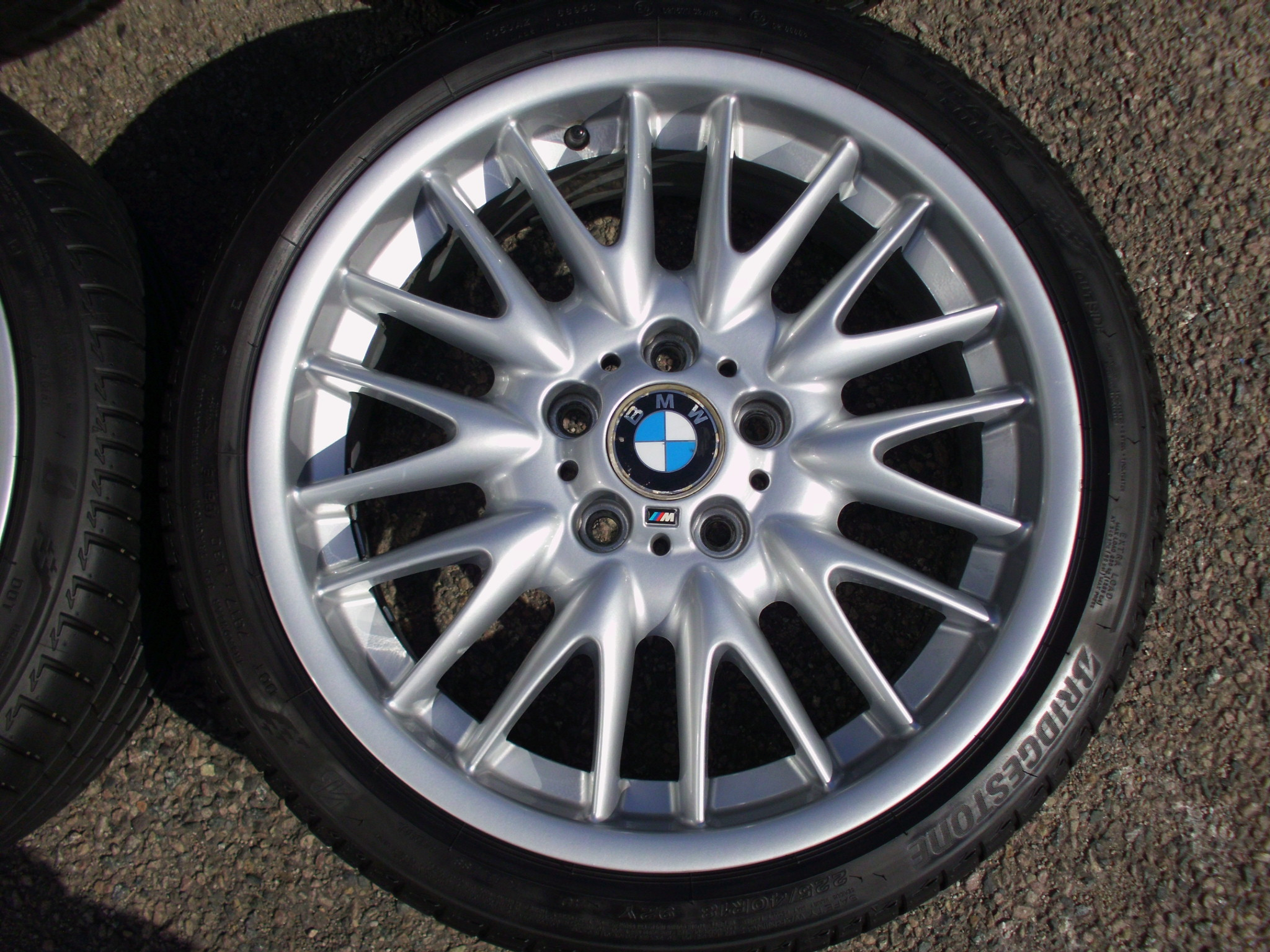 "USED 18"" GENUINE BMW STYLE 72 E46 MV SPORT ALLOY WHEELS,WIDE REAR,EXCELLENT CONDITION INC VG TYRES"