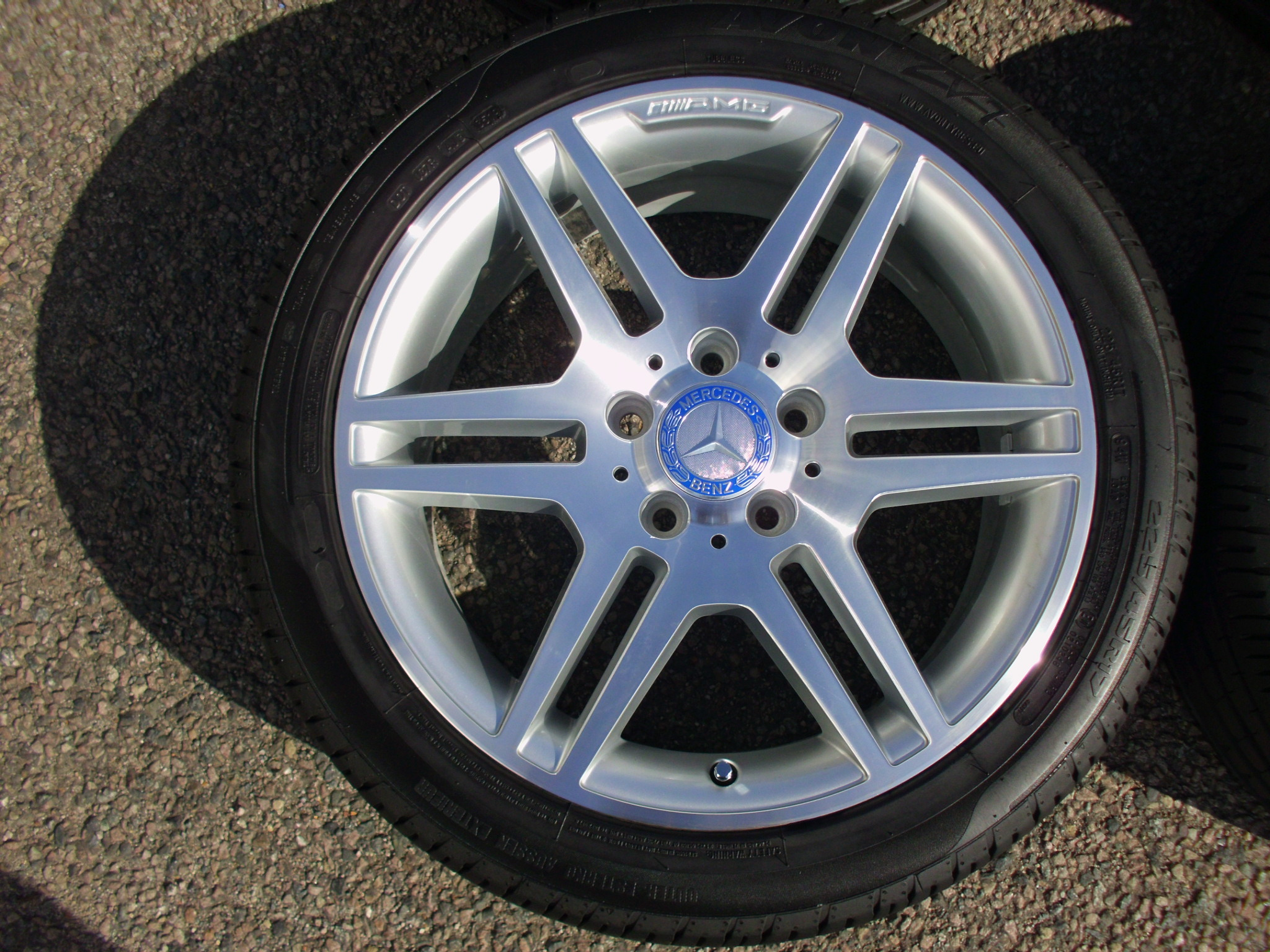 "USED 17"" GENUINE MERCEDES STYLE IV AMG DOUBLE SPOKE POLISHED ALLOY WHEELS, FULLY REFURBED, WIDE REAR, INC VG GOOD TYRES"